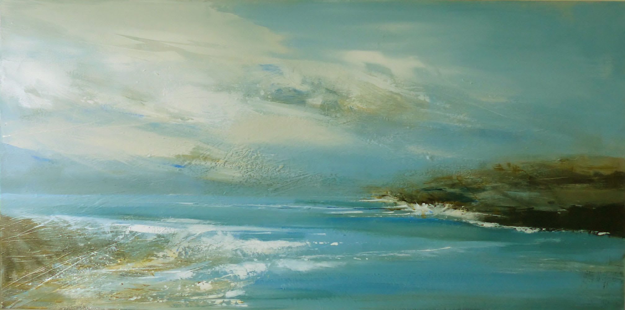 """<span class=""""link fancybox-details-link""""><a href=""""/artists/92-jenny-hirst/works/7009-jenny-hirst-bright-day-2020/"""">View Detail Page</a></span><div class=""""artist""""><strong>Jenny Hirst</strong></div> b. 1954 <div class=""""title""""><em>Bright Day</em>, 2020</div> <div class=""""medium"""">Acrylic on canvas (framed)</div> <div class=""""dimensions"""">45cm x 90cm </div><div class=""""price"""">£1,250.00</div><div class=""""copyright_line"""">Own Art £125 x 10 months. 0% finance</div>"""