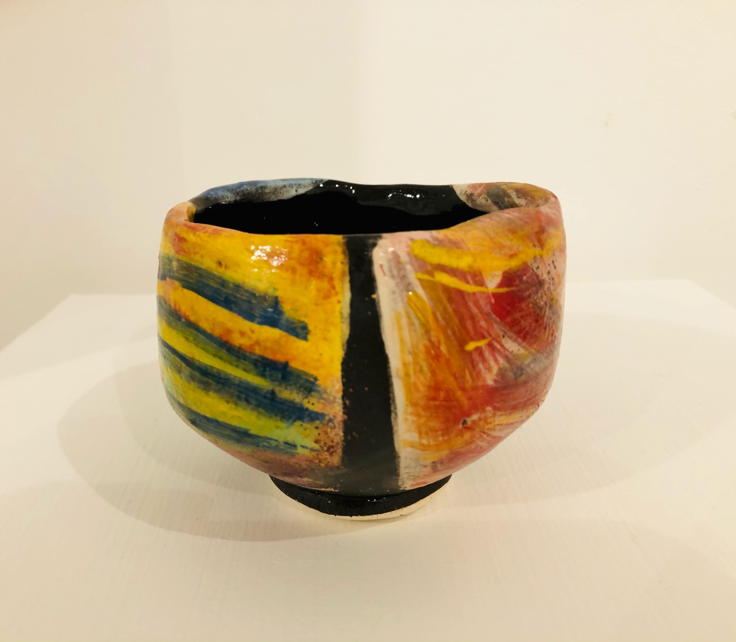 """<span class=""""link fancybox-details-link""""><a href=""""/artists/100-john-pollex/works/7421-john-pollex-tea-bowl-hand-built-2020/"""">View Detail Page</a></span><div class=""""artist""""><strong>John Pollex</strong></div> <div class=""""title""""><em>Tea bowl (hand built)</em>, 2020</div> <div class=""""signed_and_dated"""">impressed with the artist's seal mark 'JP'</div> <div class=""""medium"""">white earthenware decorated with coloured slips</div> <div class=""""dimensions"""">height. 8.5 cm x diameter. 10 cm</div><div class=""""copyright_line"""">Copyright The Artist</div>"""