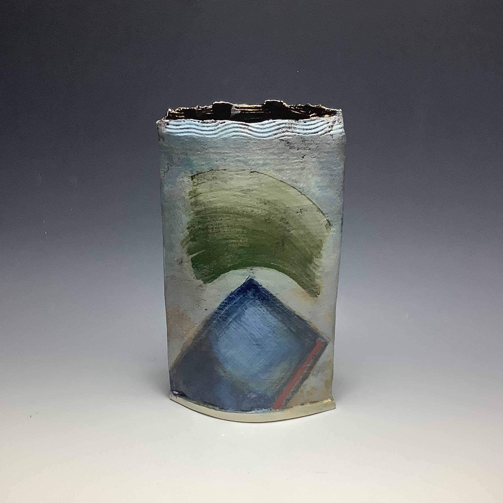 """<span class=""""link fancybox-details-link""""><a href=""""/artists/100-john-pollex/works/6827-john-pollex-large-slab-2020/"""">View Detail Page</a></span><div class=""""artist""""><strong>John Pollex</strong></div> b. 1941 <div class=""""title""""><em>Large Slab</em>, 2020</div> <div class=""""signed_and_dated"""">impressed with the artist's seal mark 'JP'</div> <div class=""""medium"""">white earthenware decorated with coloured slips</div> <div class=""""dimensions"""">10 x 7 in</div><div class=""""copyright_line"""">Ownart: £33 x 10 Months, 0% APR</div>"""