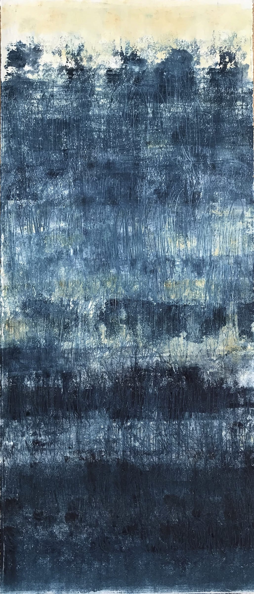 """<span class=""""link fancybox-details-link""""><a href=""""/artists/235-suzanne-bethell/works/7381-suzanne-bethell-prussian-blue-6-2020/"""">View Detail Page</a></span><div class=""""artist""""><strong>Suzanne Bethell</strong></div> <div class=""""title""""><em>Prussian Blue 6</em>, 2020</div> <div class=""""medium"""">Monotype</div> <div class=""""dimensions"""">h. 59 cm x w. 25 cm (paper size)</div> <div class=""""edition_details"""">1/1</div><div class=""""price"""">£450.00</div><div class=""""copyright_line"""">Own Art: £45 x 10 months, 0% APR</div>"""