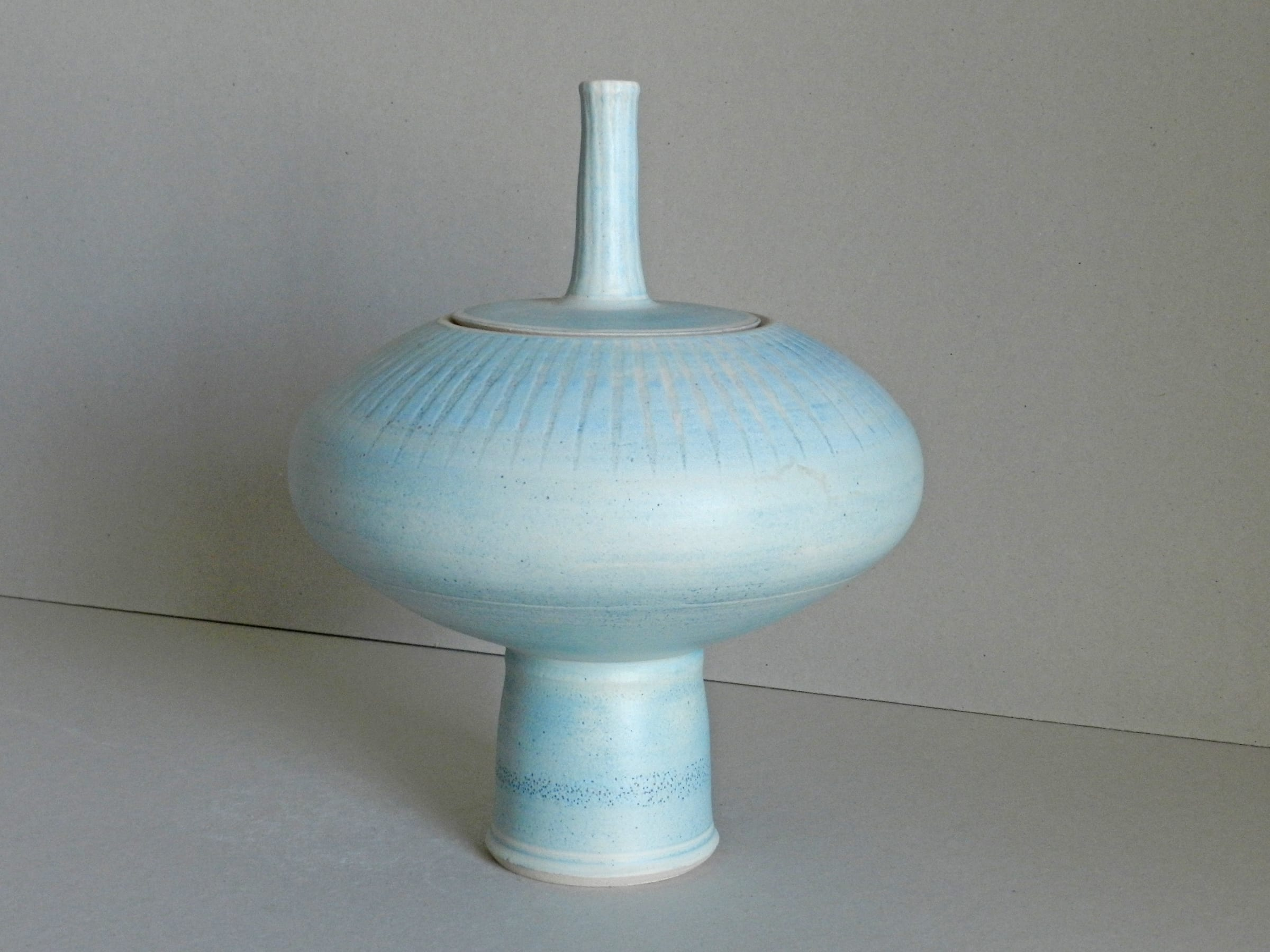 """<span class=""""link fancybox-details-link""""><a href=""""/artists/243-christine-feiler/works/6864-christine-feiler-lidded-pot-2019/"""">View Detail Page</a></span><div class=""""artist""""><strong>Christine Feiler</strong></div> b. 1948 <div class=""""title""""><em>Lidded Pot</em>, 2019</div> <div class=""""signed_and_dated"""">Ceramicist mark on the base</div> <div class=""""medium"""">Stoneware with enamels</div><div class=""""price"""">£320.00</div><div class=""""copyright_line"""">Copyright The Artist</div>"""