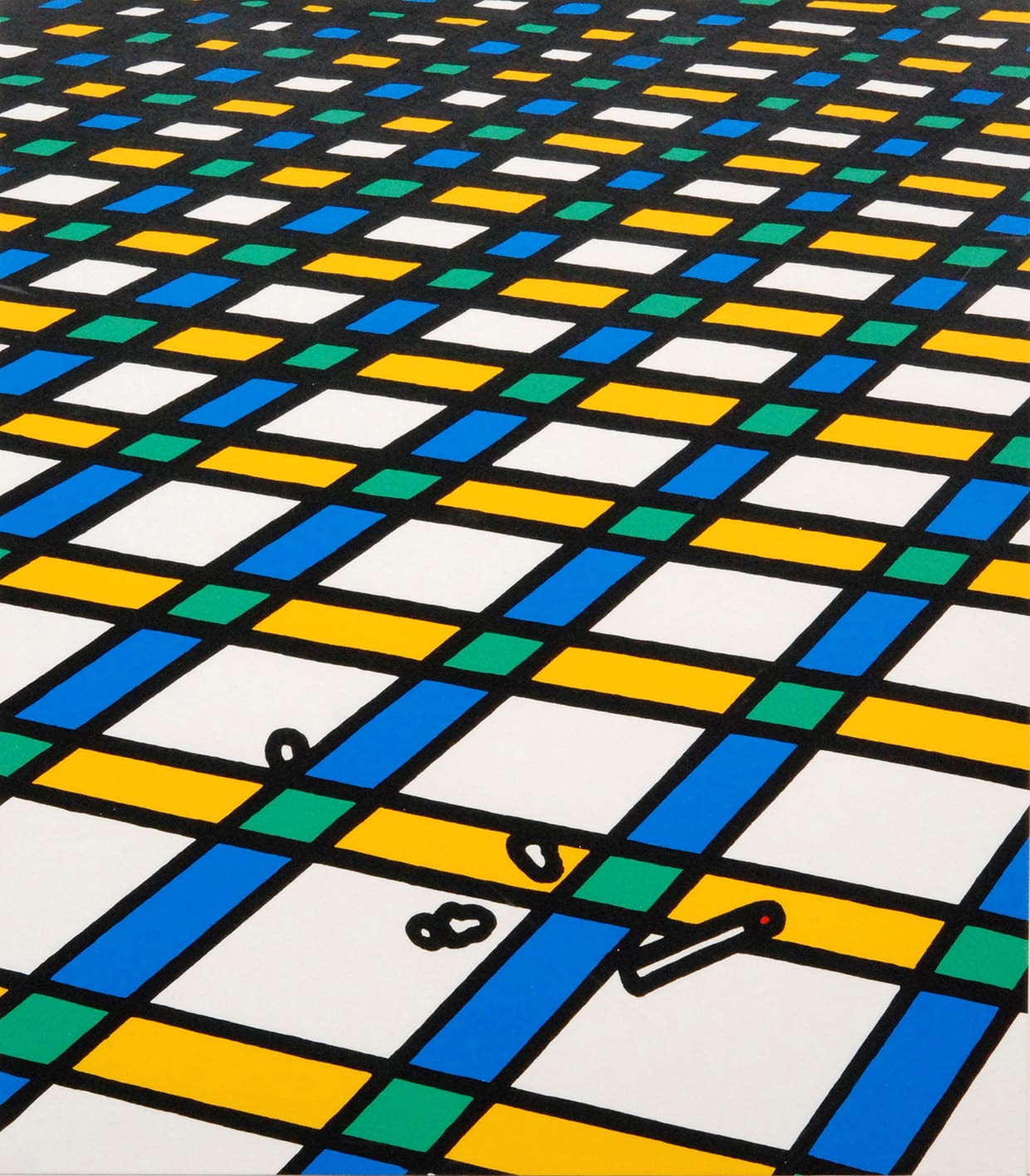 """<span class=""""link fancybox-details-link""""><a href=""""/artists/399-patrick-caulfield-cbe-ra/works/7380-patrick-caulfield-cbe-ra-and-i-am-alone-in-my-house-from-1973/"""">View Detail Page</a></span><div class=""""artist""""><strong>Patrick Caulfield CBE RA</strong></div> 1936-2005 <div class=""""title""""><em>And I am alone in my house from 'Some Poems of Jules Laforgue' [Cristea 38]</em>, 1973</div> <div class=""""signed_and_dated"""">signed and numbered from the edition of 200 in pencil on verso</div> <div class=""""medium"""">silkscreen print in colours on Neobond synthetic paper, the sheet printed to the edges</div> <div class=""""dimensions"""">sheet size: h 40.5 x w 35.5 cm</div> <div class=""""edition_details"""">edition 5 of 200 from the 'Edition B'</div><div class=""""copyright_line"""">Copyright The Artist</div>"""