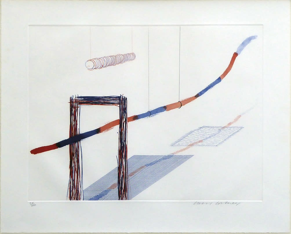 """<span class=""""link fancybox-details-link""""><a href=""""/artists/51-david-hockney-om-ch-ra/works/2925-david-hockney-om-ch-ra-it-picks-its-way-mca-tokyo-181-1976-77/"""">View Detail Page</a></span><div class=""""artist""""><strong>David Hockney OM CH RA</strong></div> 1937– <div class=""""title""""><em>It Picks Its Way (MCA Tokyo 181)</em>, 1976-77</div> <div class=""""signed_and_dated"""">signed and numbered in pencil to print margin</div> <div class=""""medium"""">etching with aquatint printed in colours on wove paper</div> <div class=""""dimensions"""">plate size: 35.6 x 42.5 cm<br />14 1/8 x 16 3/4 inches<br /><br />Sheet size: 45.5 x 52.4 cm<br />17 7/8 x 20 5/8 inches</div> <div class=""""edition_details"""">38/200</div><div class=""""copyright_line"""">Copyright The Artist</div>"""