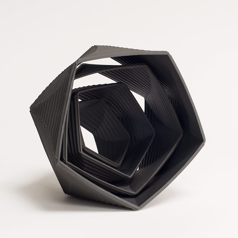 """<span class=""""link fancybox-details-link""""><a href=""""/artists/32-keith-varney/works/4581-keith-varney-helix-5555-black-porcelain-2017/"""">View Detail Page</a></span><div class=""""artist""""><strong>Keith Varney</strong></div> <div class=""""title""""><em>Helix 5555 Black Porcelain</em>, 2017</div> <div class=""""signed_and_dated"""">signed 'Keith Varney'</div> <div class=""""medium"""">porcelain</div> <div class=""""dimensions"""">15 x 14.8 cm<br /> 5 7/8 x 5 7/8 inches</div><div class=""""price"""">£480.00</div><div class=""""copyright_line"""">OwnArt: £ 48 x 10 Months, 0% APR</div>"""