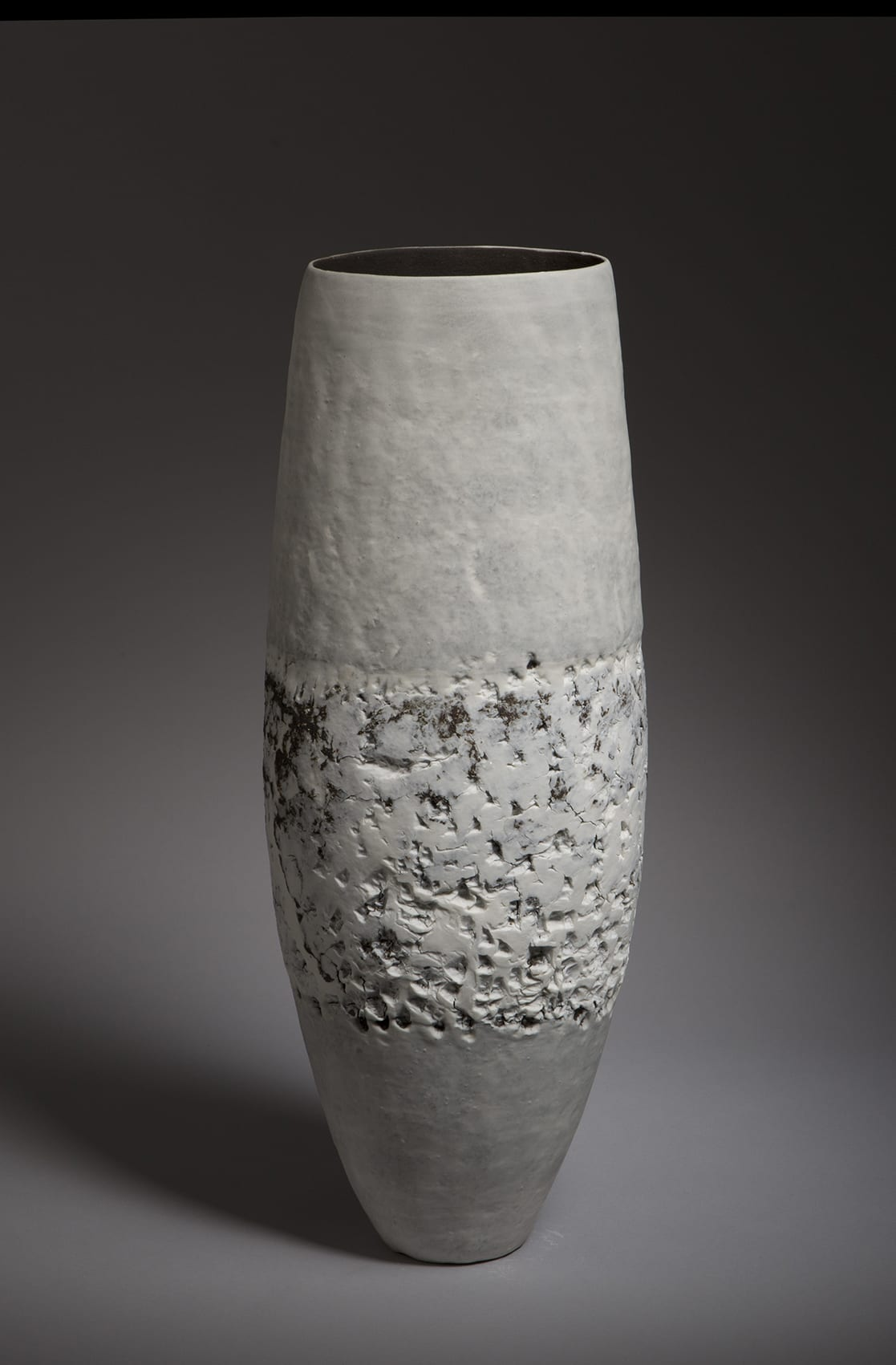"""<span class=""""link fancybox-details-link""""><a href=""""/content/feature/35/artworks7966/"""">View Detail Page</a></span><div class=""""signed_and_dated"""">signed to the base</div> <div class=""""medium"""">handbuilt stoneware, with white porcelain and porcelain slip</div> <div class=""""dimensions"""">h. 48 x w. 16 x d. 13 cm</div>"""