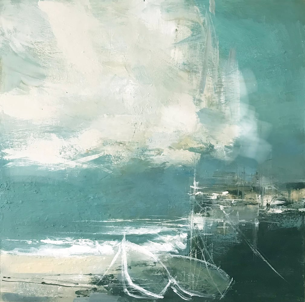 """<span class=""""link fancybox-details-link""""><a href=""""/artists/92-jenny-hirst/works/7501-jenny-hirst-boats-moored-up-2021/"""">View Detail Page</a></span><div class=""""artist""""><strong>Jenny Hirst</strong></div> b. 1954 <div class=""""title""""><em>Boats Moored Up</em>, 2021</div> <div class=""""signed_and_dated"""">signed to front</div> <div class=""""medium"""">acrylic on panel</div> <div class=""""dimensions"""">h. 45 cm x w. 45 cm<br /> framed: 65 cm x 65 cm</div><div class=""""copyright_line"""">Own Art: £85 x 10 months, 0% APR</div>"""