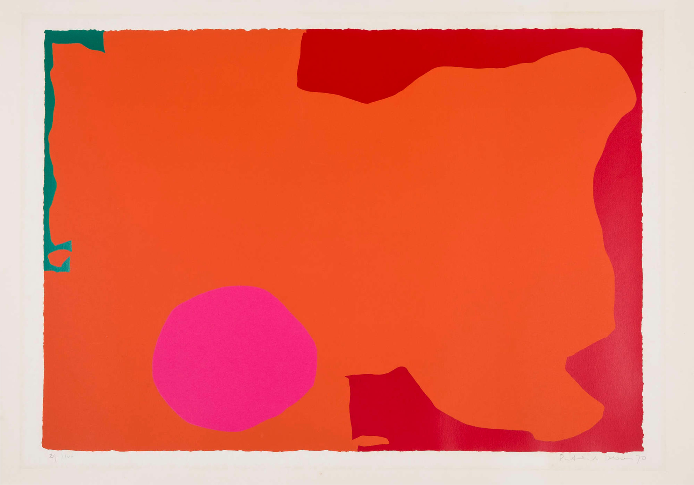 """<span class=""""link fancybox-details-link""""><a href=""""/artists/93-patrick-heron-cbe/works/7569-patrick-heron-cbe-magenta-disc-and-red-edge-april-1970-1970/"""">View Detail Page</a></span><div class=""""artist""""><strong>Patrick Heron CBE</strong></div> 1920 – 1999 <div class=""""title""""><em>Magenta Disc and Red Edge: April 1970</em>, 1970</div> <div class=""""signed_and_dated"""">signed, dated, and numbered in pencil from the edition of 72</div> <div class=""""medium"""">silkscreen print in colours on wove paper, with full margins</div> <div class=""""dimensions"""">image size: 59.3 x 79.6 cm<br /> sheet size: 70.6 x 106 cm</div> <div class=""""edition_details"""">edition 29 of 72</div><div class=""""copyright_line"""">© The Estate of Patrick Heron</div>"""