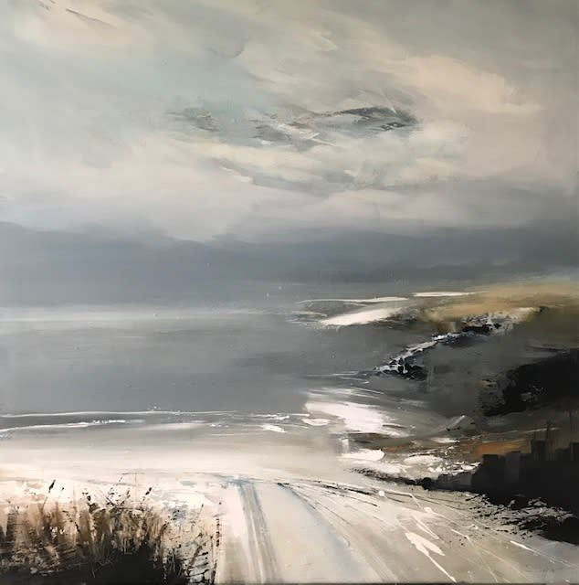 """<span class=""""link fancybox-details-link""""><a href=""""/artists/92-jenny-hirst/works/7400-jenny-hirst-track-to-the-beach-2020/"""">View Detail Page</a></span><div class=""""artist""""><strong>Jenny Hirst</strong></div> b. 1954 <div class=""""title""""><em>Track to the Beach</em>, 2020</div> <div class=""""medium"""">Acrylic on deep profile canvas</div> <div class=""""dimensions"""">h. 80 x w. 80 cm</div><div class=""""copyright_line"""">Ownart: £130 x 10 Months, 0% APR</div>"""