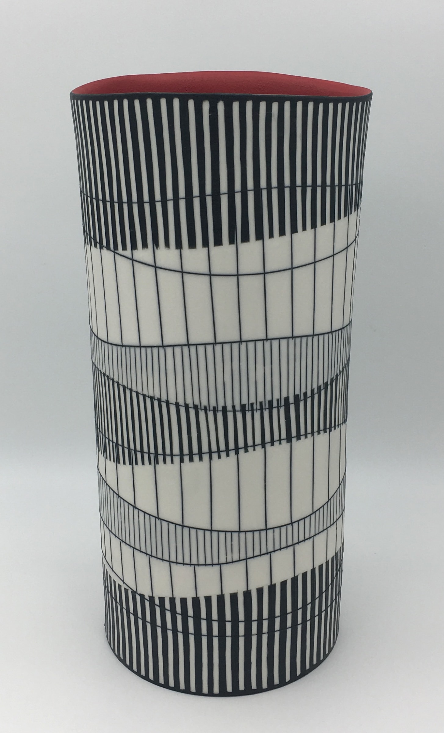 """<span class=""""link fancybox-details-link""""><a href=""""/artists/195-lara-scobie/works/6511-lara-scobie-large-tall-cylinder-vase-with-red-interior-2019/"""">View Detail Page</a></span><div class=""""artist""""><strong>Lara Scobie</strong></div> b. 1967 <div class=""""title""""><em>Large Tall Cylinder Vase with Red Interior</em>, 2019</div> <div class=""""medium"""">Porcelain</div><div class=""""copyright_line"""">Own Art: £75 x 10 Months, 0% APR</div>"""