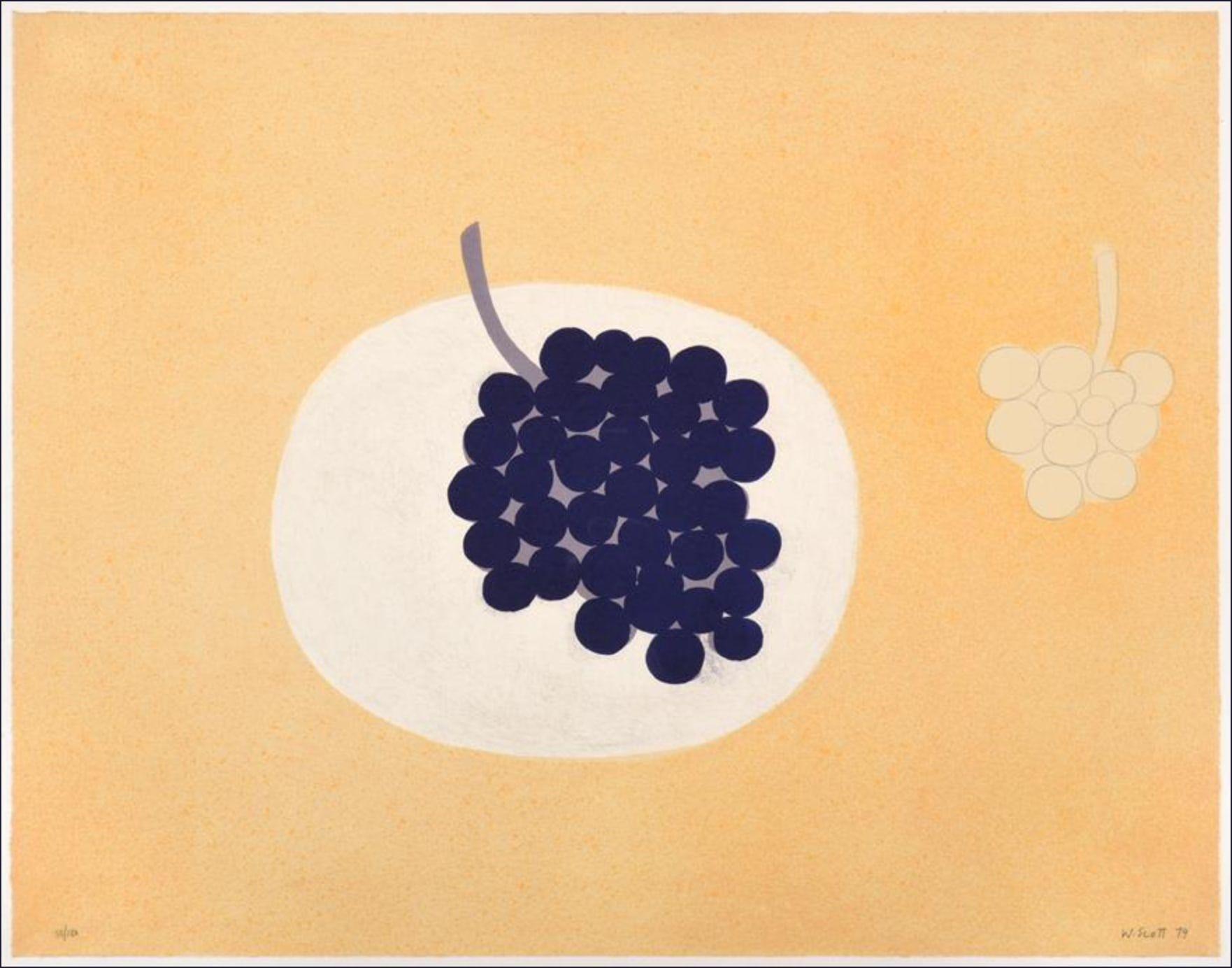 "<span class=""link fancybox-details-link""><a href=""/artists/63-william-scott-ra/works/7555-william-scott-ra-grapes-1979/"">View Detail Page</a></span><div class=""artist""><strong>William Scott RA</strong></div> 1913–1989 <div class=""title""><em>Grapes</em>, 1979</div> <div class=""signed_and_dated"">signed, dated, numbered from the edition of 150 in pencil, </div> <div class=""medium"">lithograph in colours on wove paper<br /> </div> <div class=""dimensions"">sheet size: h 49.5 x w 64 cm</div> <div class=""edition_details"">edition 50 of 150</div><div class=""copyright_line"">Copyright The Artist</div>"