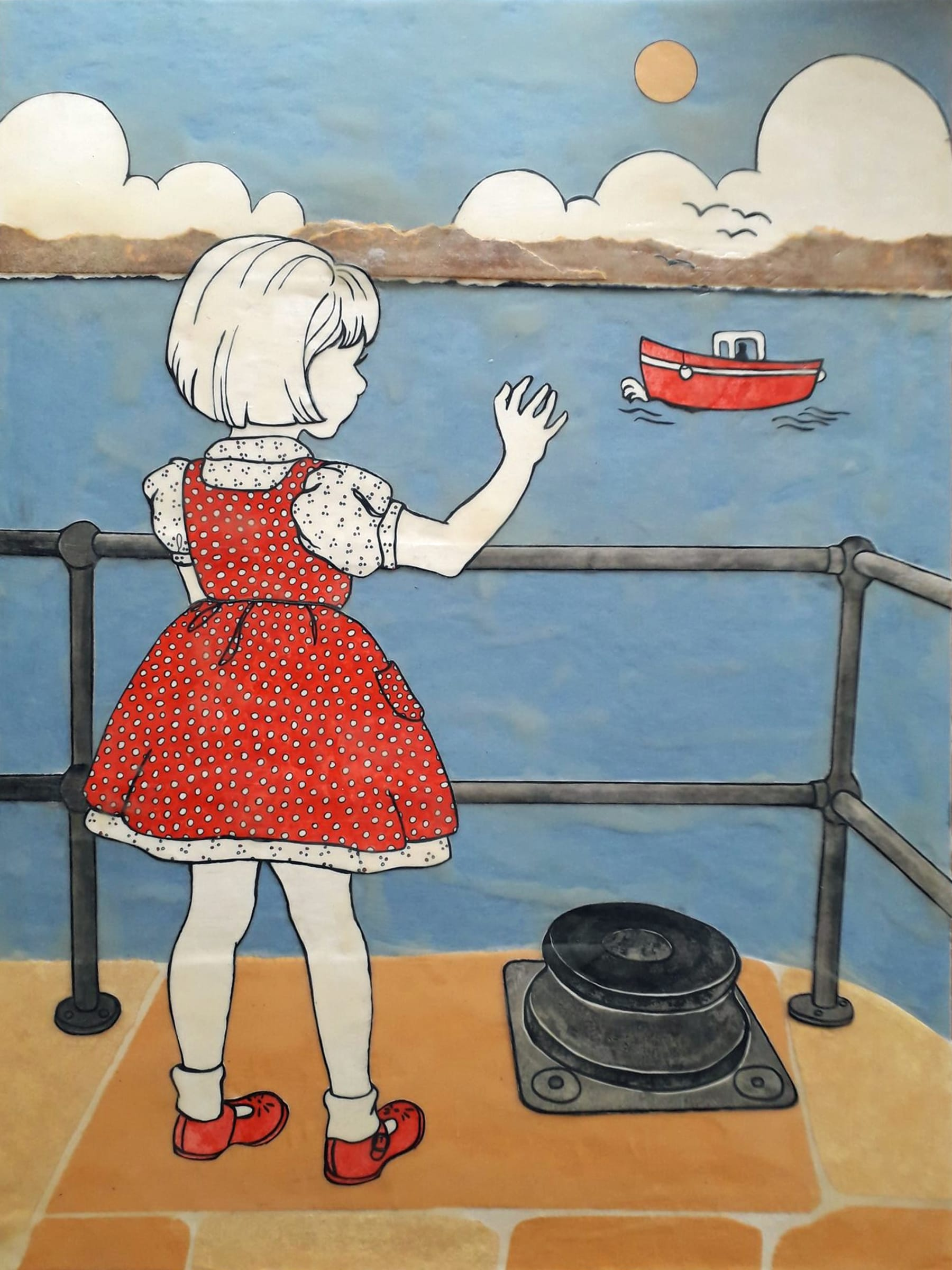 """<span class=""""link fancybox-details-link""""><a href=""""/artists/37-ann-winder-boyle/works/5881-ann-winder-boyle-the-girl-at-the-end-of-the-pier-2018/"""">View Detail Page</a></span><div class=""""artist""""><strong>Ann Winder-Boyle</strong></div> b. 1963 <div class=""""title""""><em>The Girl at the End of the Pier</em>, 2018</div> <div class=""""signed_and_dated"""">signed by the artist on reverse</div> <div class=""""medium"""">vintage books, ink drawings and beeswax</div> <div class=""""dimensions"""">61 x 46 cm unframed </div><div class=""""price"""">£1,500.00</div>"""