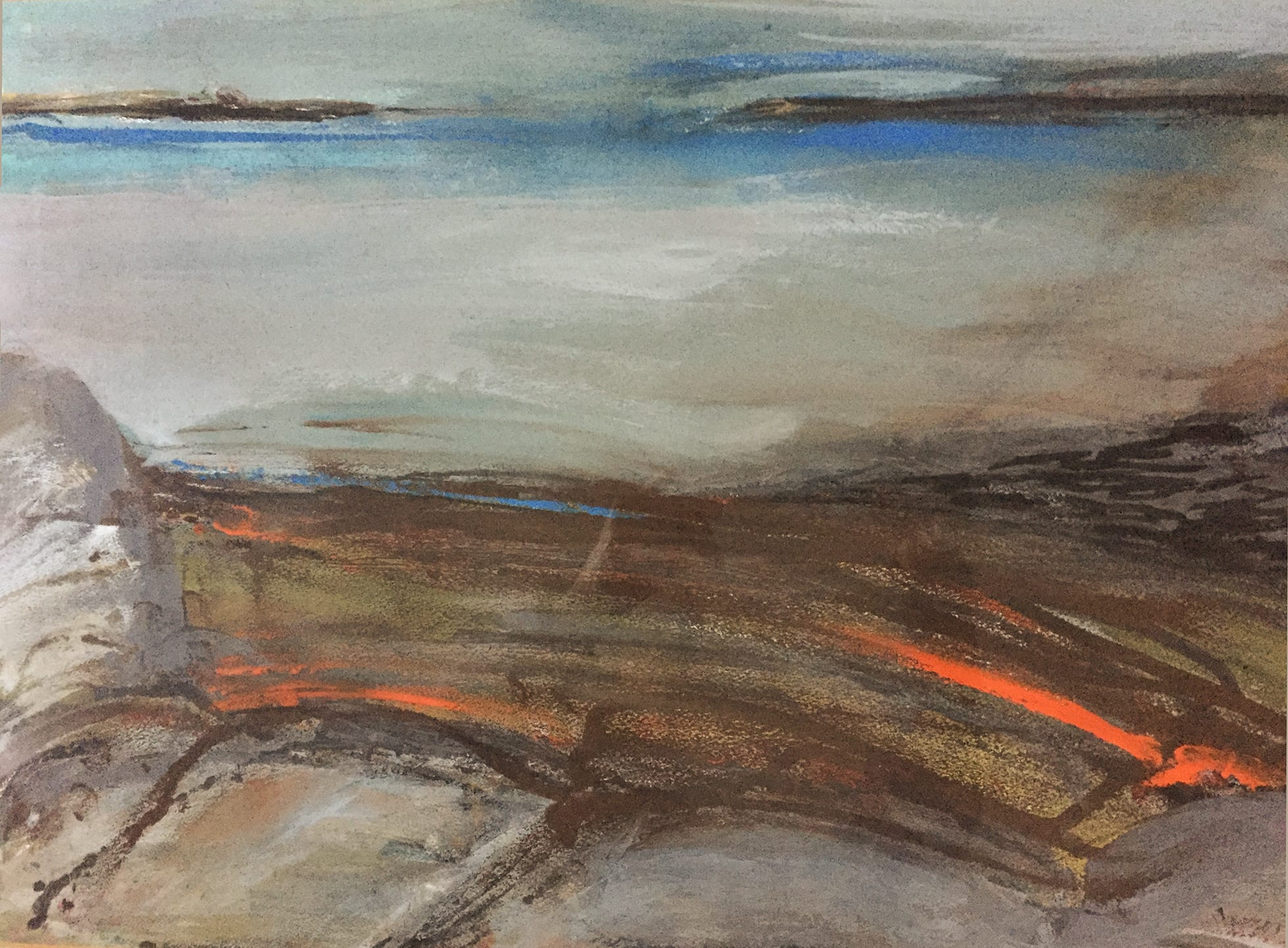 """<span class=""""link fancybox-details-link""""><a href=""""/artists/134-margo-maeckelberghe/works/7543-margo-maeckelberghe-striped-landscape-1986/"""">View Detail Page</a></span><div class=""""artist""""><strong>Margo Maeckelberghe</strong></div> 1932–2014 <div class=""""title""""><em>Striped Landscape</em>, 1986</div> <div class=""""signed_and_dated"""">signed, titled, and dated verso</div> <div class=""""medium"""">mixed-media on handmade paper </div> <div class=""""dimensions"""">visible image size: 34 x 50 cm <br /> frame size: 57 x 76 cm<br /> </div><div class=""""price"""">£1,500.00</div><div class=""""copyright_line"""">Copyright The Artist</div>"""