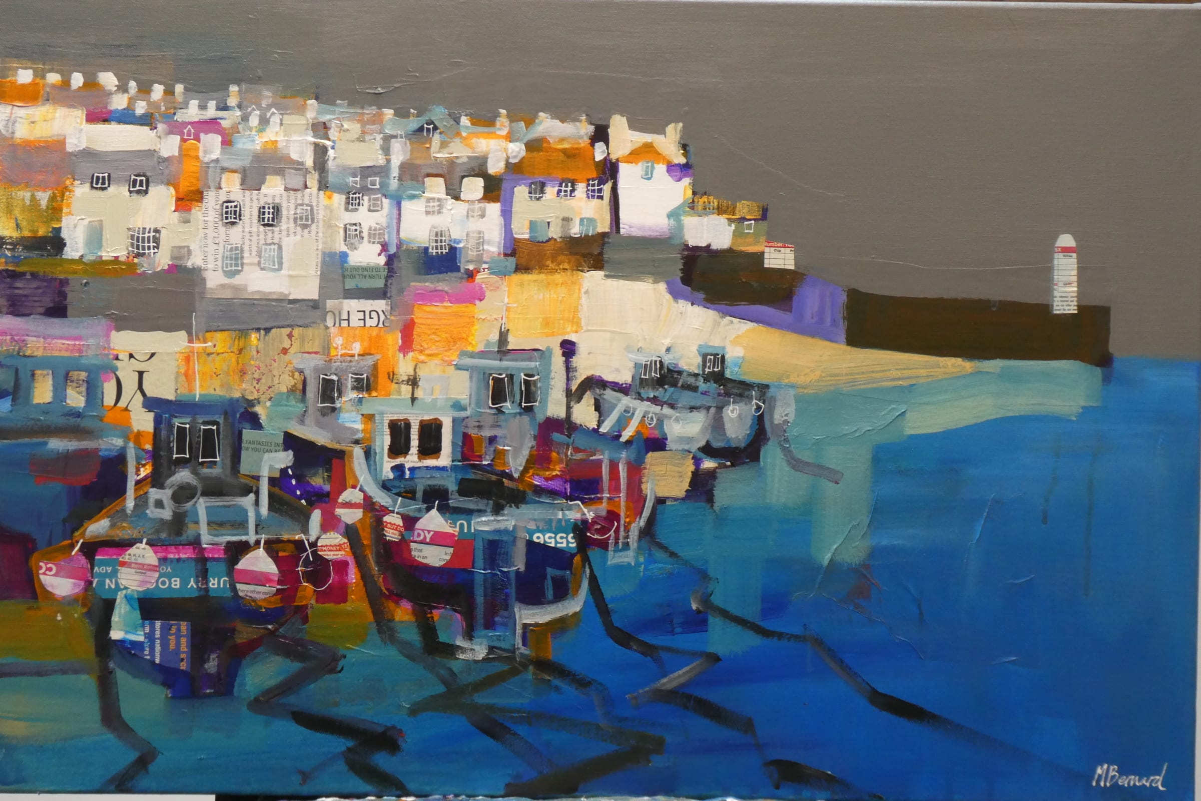 """<span class=""""link fancybox-details-link""""><a href=""""/artists/155-mike-bernard-ri/works/7667-mike-bernard-ri-fishing-boats-st-ives-2021-2021/"""">View Detail Page</a></span><div class=""""artist""""><strong>Mike Bernard RI</strong></div> <div class=""""title""""><em>Fishing Boats, St Ives, 2021</em>, 2021</div> <div class=""""medium"""">acrylic and collage on canvas</div> <div class=""""dimensions"""">canvas: 60 x 60 cm <br /> frame: 65 x 65 cm</div><div class=""""price"""">£1,800.00</div><div class=""""copyright_line"""">Own Art: £180 x 10 Months, 0% APR</div>"""