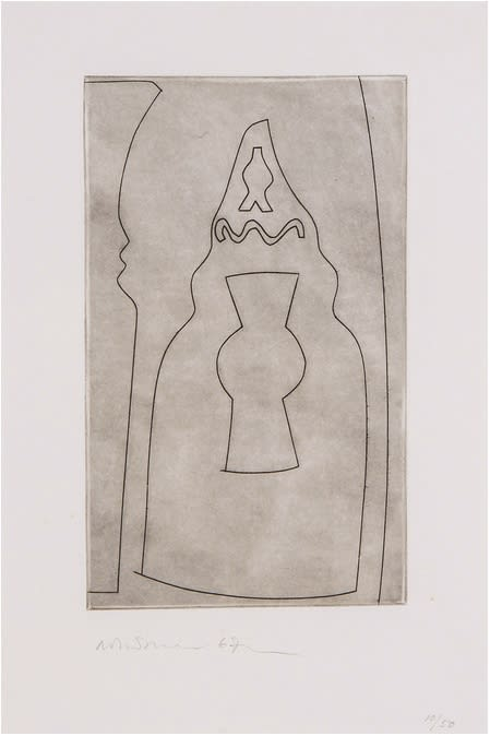 """<span class=""""link fancybox-details-link""""><a href=""""/artists/112-ben-nicholson-om/works/2522-ben-nicholson-om-curled-turkish-form-c.133-1967/"""">View Detail Page</a></span><div class=""""artist""""><strong>Ben Nicholson OM</strong></div> 1894–1982 <div class=""""title""""><em>Curled Turkish Form (C.133)</em>, 1967</div> <div class=""""signed_and_dated"""">Signed, dated and numbered 10/50 in pencil to the margin</div> <div class=""""medium"""">Etching printed with a delicate plate tone on wove paper with full margins</div> <div class=""""dimensions"""">plate size: 25.3 x 15.5 cm<br /> sheet size: 38 x 27 cm</div> <div class=""""edition_details"""">10/50</div><div class=""""copyright_line"""">Copyright The Artist</div>"""
