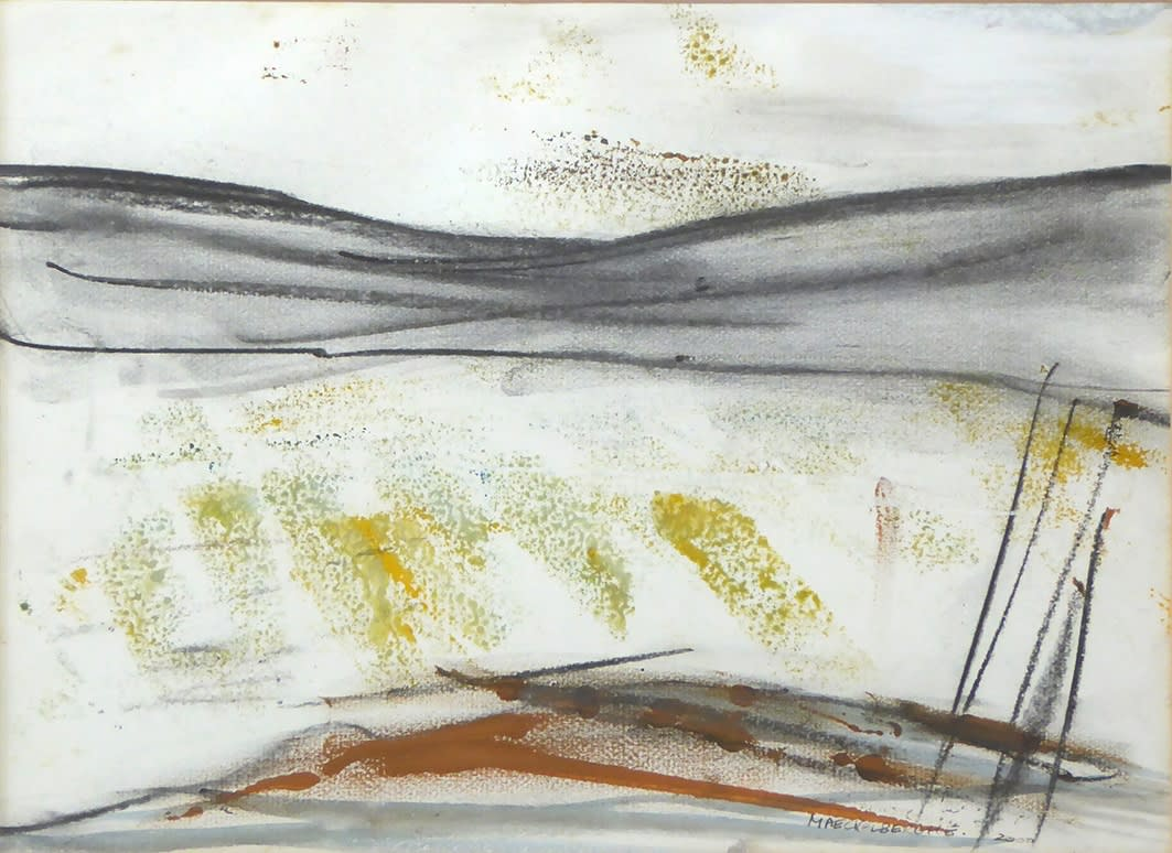 """<span class=""""link fancybox-details-link""""><a href=""""/artists/134-margo-maeckelberghe/works/3062-margo-maeckelberghe-winter-landscape-penwith-2000/"""">View Detail Page</a></span><div class=""""artist""""><strong>Margo Maeckelberghe</strong></div> 1932–2014 <div class=""""title""""><em>Winter Landscape, Penwith</em>, 2000</div> <div class=""""signed_and_dated"""">Signed and dated 'MAECKELBERGHE 2000'</div> <div class=""""medium"""">mixed media on handmade paper</div> <div class=""""dimensions"""">27 x 36 cm</div><div class=""""price"""">£1,150.00</div><div class=""""copyright_line"""">© The Estate of Margo Maeckelberghe</div>"""