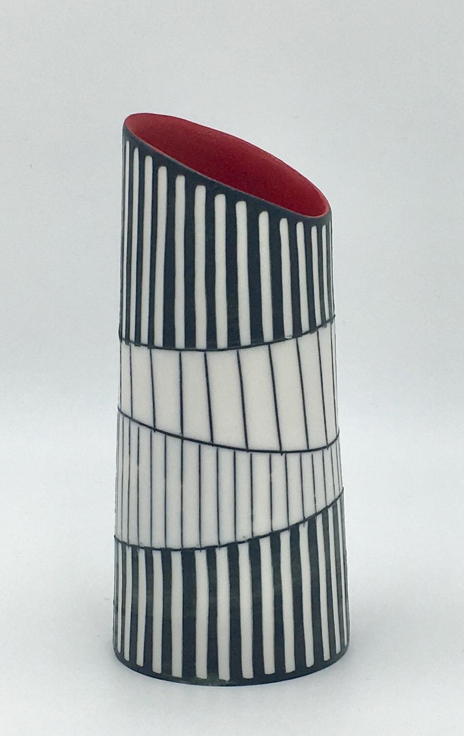 "<span class=""link fancybox-details-link""><a href=""/artists/195-lara-scobie/works/6530-lara-scobie-vase-with-tilted-rim-2019/"">View Detail Page</a></span><div class=""artist""><strong>Lara Scobie</strong></div> b. 1967 <div class=""title""><em>Vase with Tilted Rim</em>, 2019</div> <div class=""medium"">Porcelain</div>"