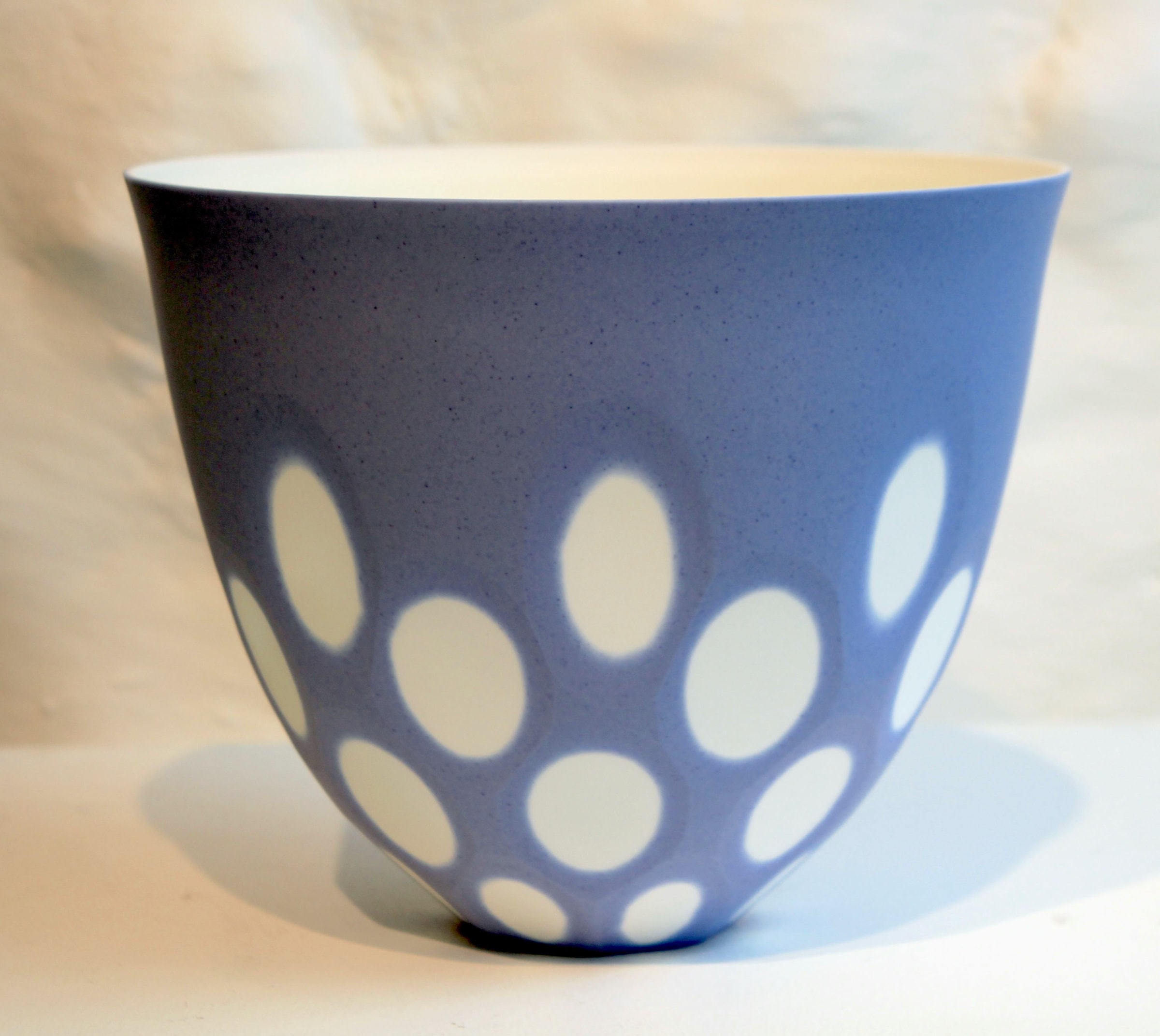 """<span class=""""link fancybox-details-link""""><a href=""""/artists/60-sasha-wardell/works/5496-sasha-wardell-two-layer-space-bowl-2018/"""">View Detail Page</a></span><div class=""""artist""""><strong>Sasha Wardell</strong></div> b. 1956 <div class=""""title""""><em>Two Layer Space Bowl</em>, 2018</div> <div class=""""signed_and_dated"""">inscribed with artist initials on base</div> <div class=""""medium"""">lavender/white layered & sliced bone china</div> <div class=""""dimensions"""">15 x 17 cm<br /> 5 7/8 x 6 3/4 inches</div><div class=""""price"""">£165.00</div><div class=""""copyright_line"""">OwnArt: £ 16.5 x 10 Months, 0% APR</div>"""