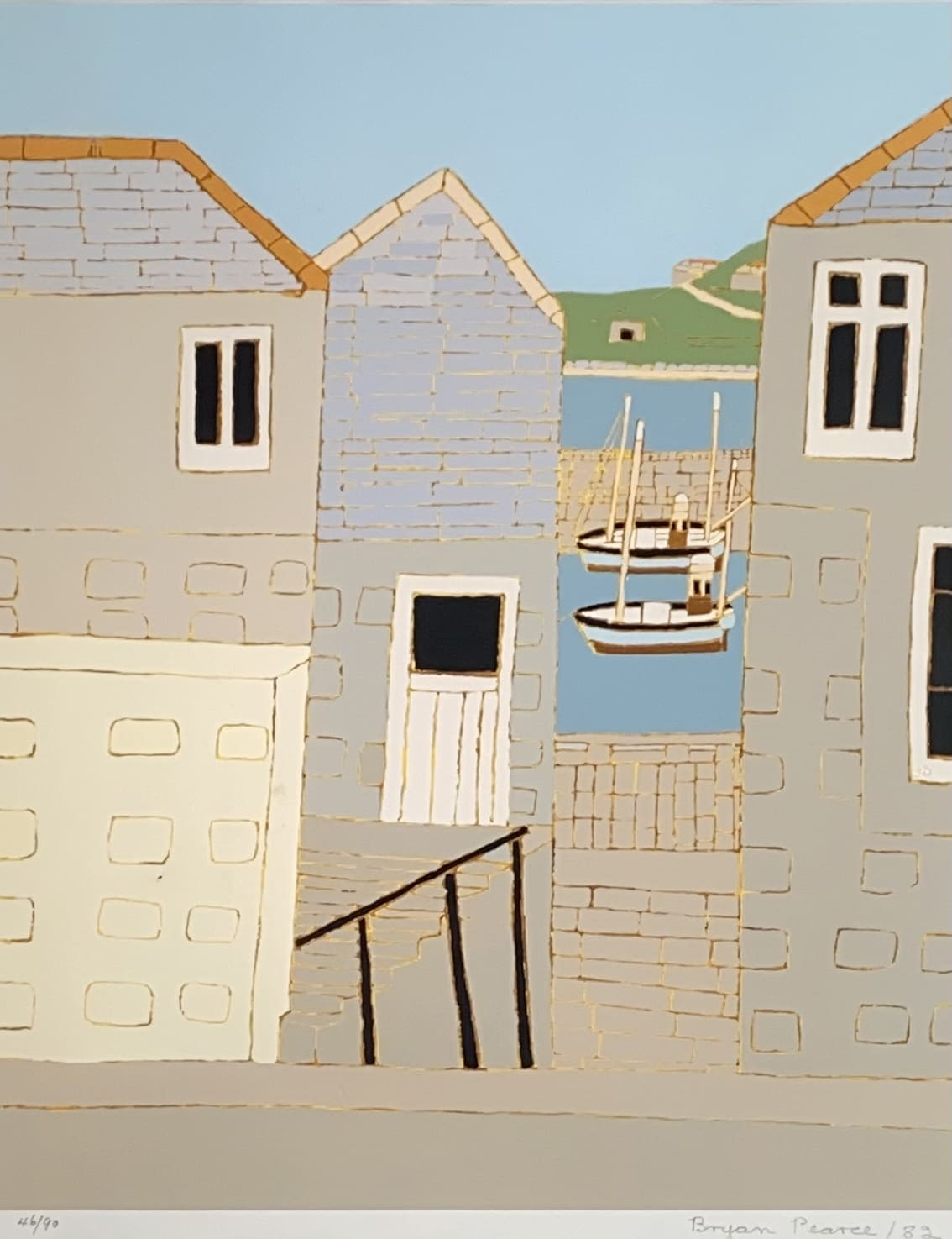 """<span class=""""link fancybox-details-link""""><a href=""""/artists/85-bryan-pearce/works/7482-bryan-pearce-bethesda-st-ives-1970/"""">View Detail Page</a></span><div class=""""artist""""><strong>Bryan Pearce</strong></div> 1929-2007 <div class=""""title""""><em>Bethesda, St Ives</em>, 1970</div> <div class=""""signed_and_dated"""">signed, dated and numbered from the edition of 90 in pencil</div> <div class=""""medium"""">silkscreen print on paper</div> <div class=""""dimensions"""">44 x 35 cm unframed<br /> 60 x 52 cm framed</div> <div class=""""edition_details"""">edition 46 of 90</div><div class=""""copyright_line"""">Copyright The Artist</div>"""