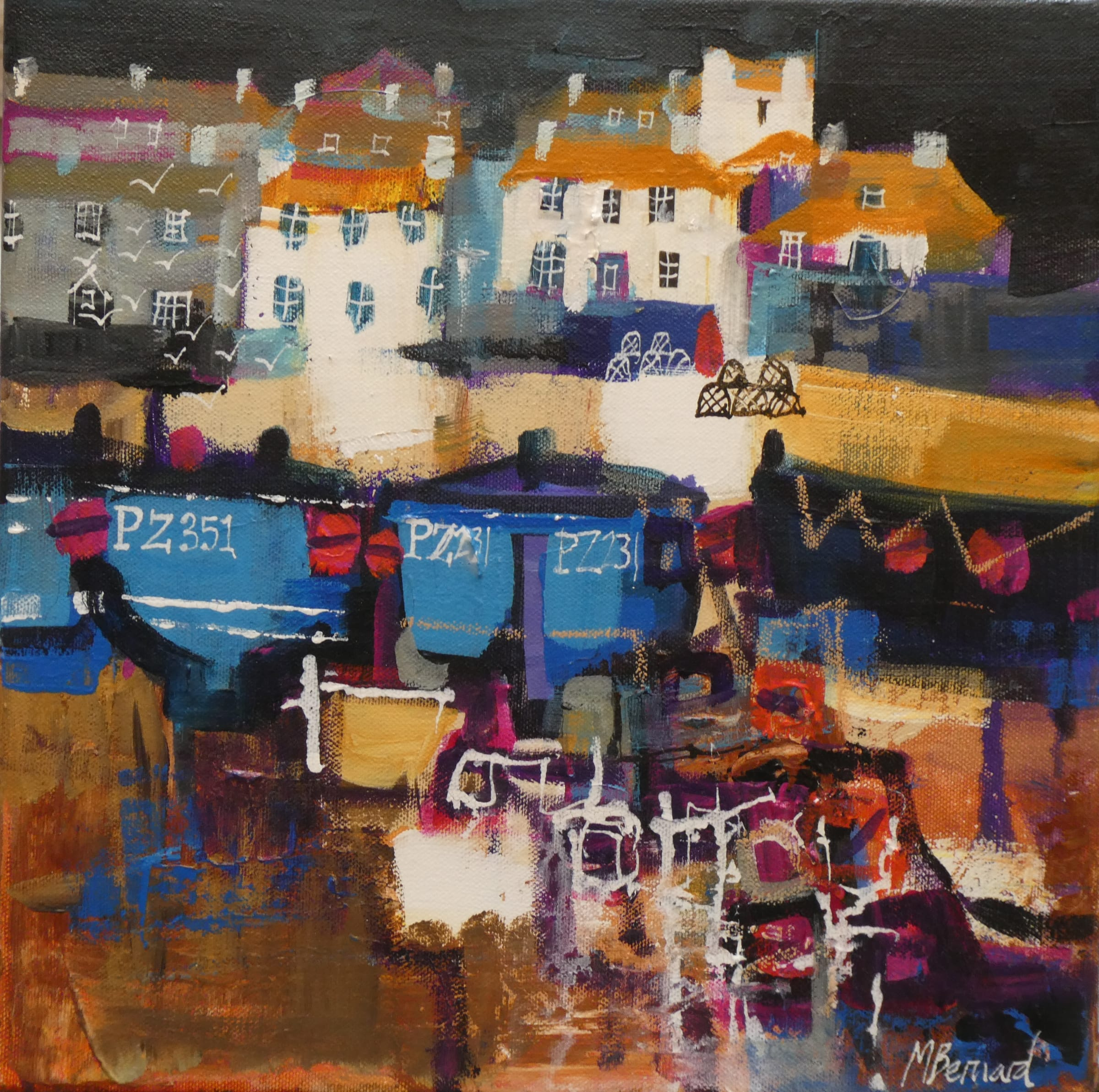 """<span class=""""link fancybox-details-link""""><a href=""""/artists/155-mike-bernard-ri/works/7670-mike-bernard-ri-beached-fishing-boats-2021/"""">View Detail Page</a></span><div class=""""artist""""><strong>Mike Bernard RI</strong></div> <div class=""""title""""><em>Beached Fishing Boats</em>, 2021</div> <div class=""""medium"""">acrylic and collage on canvas</div> <div class=""""dimensions"""">canvas: 30 x 30 cm <br /> frame: 37 x 37 cm</div><div class=""""price"""">£850.00</div><div class=""""copyright_line"""">Own Art: £85 x 10 Months, 0% APR</div>"""