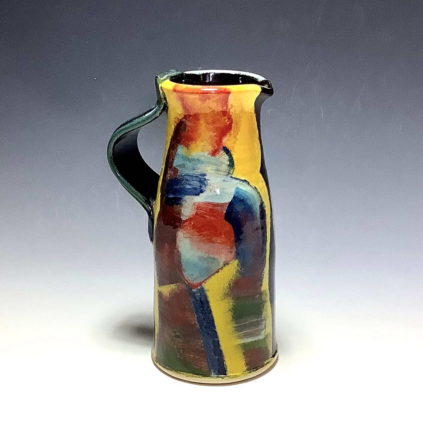 """<span class=""""link fancybox-details-link""""><a href=""""/artists/100-john-pollex/works/7855-john-pollex-tall-jug-2021/"""">View Detail Page</a></span><div class=""""artist""""><strong>John Pollex</strong></div> <div class=""""title""""><em>Tall Jug</em>, 2021</div> <div class=""""signed_and_dated"""">impressed with the artist's seal mark 'JP'</div> <div class=""""medium"""">white earthenware decorated with coloured slips</div> <div class=""""dimensions"""">height. 23 cm x diameter. 10 cm</div><div class=""""price"""">£242.00</div><div class=""""copyright_line"""">Own Art: £24.20 x 10 Months, 0% APR</div>"""