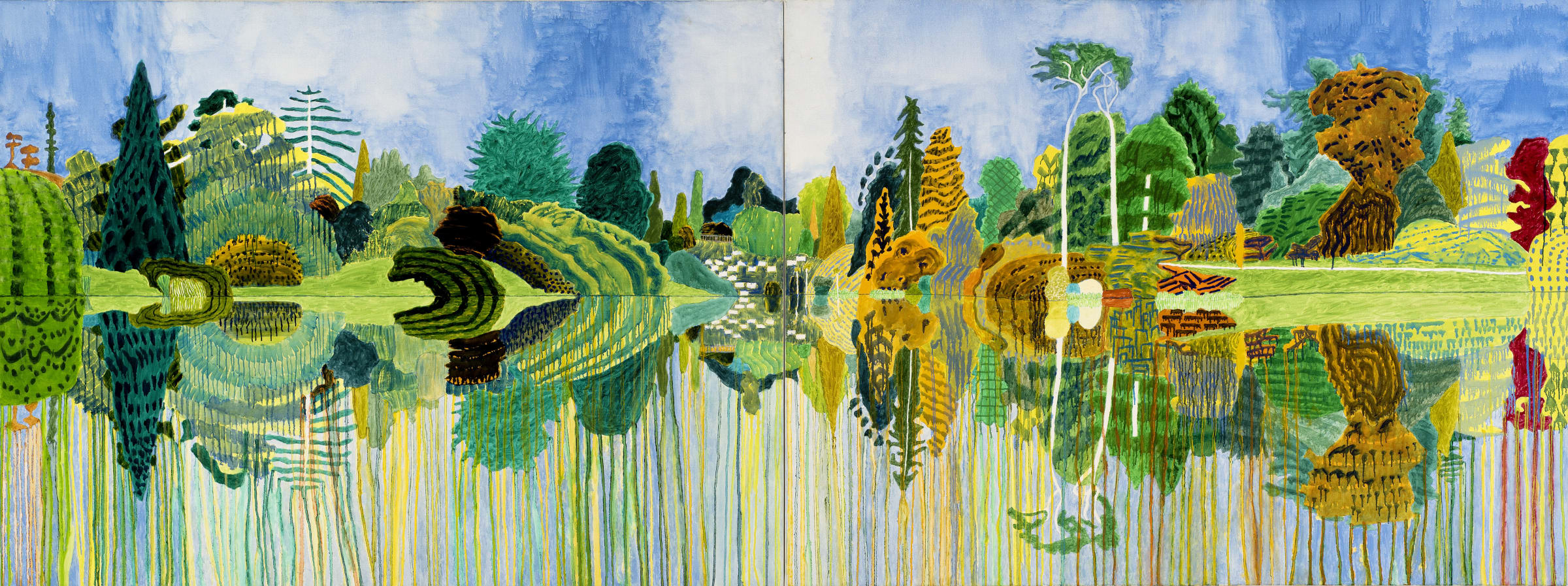 """<span class=""""link fancybox-details-link""""><a href=""""/artists/37-adrian-berg/works/467-adrian-berg-second-lake-sheffield-park-garden-sussex-weald-late-2002/"""">View Detail Page</a></span><div class=""""artist""""><strong>Adrian Berg</strong></div> 1929-2011 <div class=""""title""""><em>Second Lake, Sheffield Park Garden, Sussex Weald, Late Summer</em>, 2002</div> <div class=""""medium"""">oil on canvas</div> <div class=""""dimensions"""">52 x 144 1/8 in<br /> 132 x 366 cm</div>"""