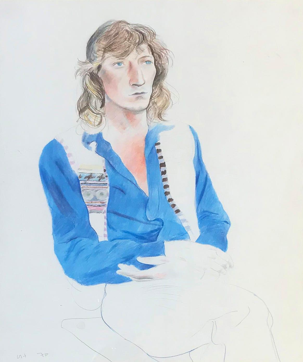 "<span class=""link fancybox-details-link""><a href=""/artists/43-david-hockney/works/1016-david-hockney-tchaik-chassay-1970/"">View Detail Page</a></span><div class=""artist""><strong>David Hockney</strong></div> b.1937 <div class=""title""><em>Tchaik Chassay</em>, 1970</div> <div class=""signed_and_dated"">initialed and dated</div> <div class=""medium"">coloured pencil on paper </div> <div class=""dimensions"">42.6 x 35.9cm</div>"