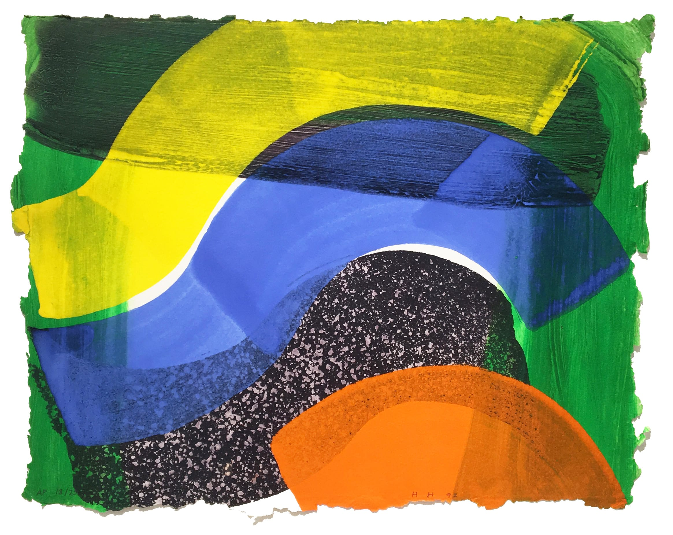 """<span class=""""link fancybox-details-link""""><a href=""""/artists/76-howard-hodgkin/works/989-howard-hodgkin-put-out-more-flags-1992/"""">View Detail Page</a></span><div class=""""artist""""><strong>Howard Hodgkin</strong></div> 1932 - 2017 <div class=""""title""""><em>Put Out More Flags</em>, 1992</div> <div class=""""signed_and_dated"""">signed with initials and dated in pencil in lower centre<br /> from the edition of 75 with XXV artist's proofs</div> <div class=""""medium"""">Lift-ground etching and aquatint</div> <div class=""""dimensions"""">42 x 52.4cm</div>"""