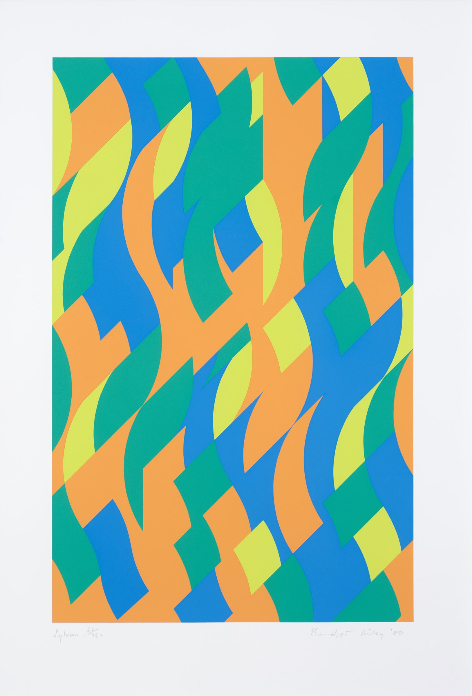 """<span class=""""link fancybox-details-link""""><a href=""""/exhibitions/27/works/artworks1270/"""">View Detail Page</a></span><div class=""""artist""""><strong>Bridget Riley</strong></div> b. 1931<div class=""""title""""><em>Sylvan</em>, 2000</div><div class=""""medium"""">Screenprint</div><div class=""""dimensions"""">89 x 61cm (sheet size)</div><div class=""""edition_details"""">from the edition of 75</div>"""