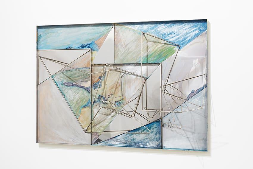 "<span class=""link fancybox-details-link""><a href=""/exhibitions/7/works/artworks319/"">View Detail Page</a></span><div class=""artist""><strong>Sara Barker</strong></div><p>born 1980</p><div class=""title""><em>Island to Island</em>, 2016</div><div class=""medium"">Steel rod, automotive paint, folded aluminium tray</div><div class=""dimensions"">82 x 117 x 30cm</div>"