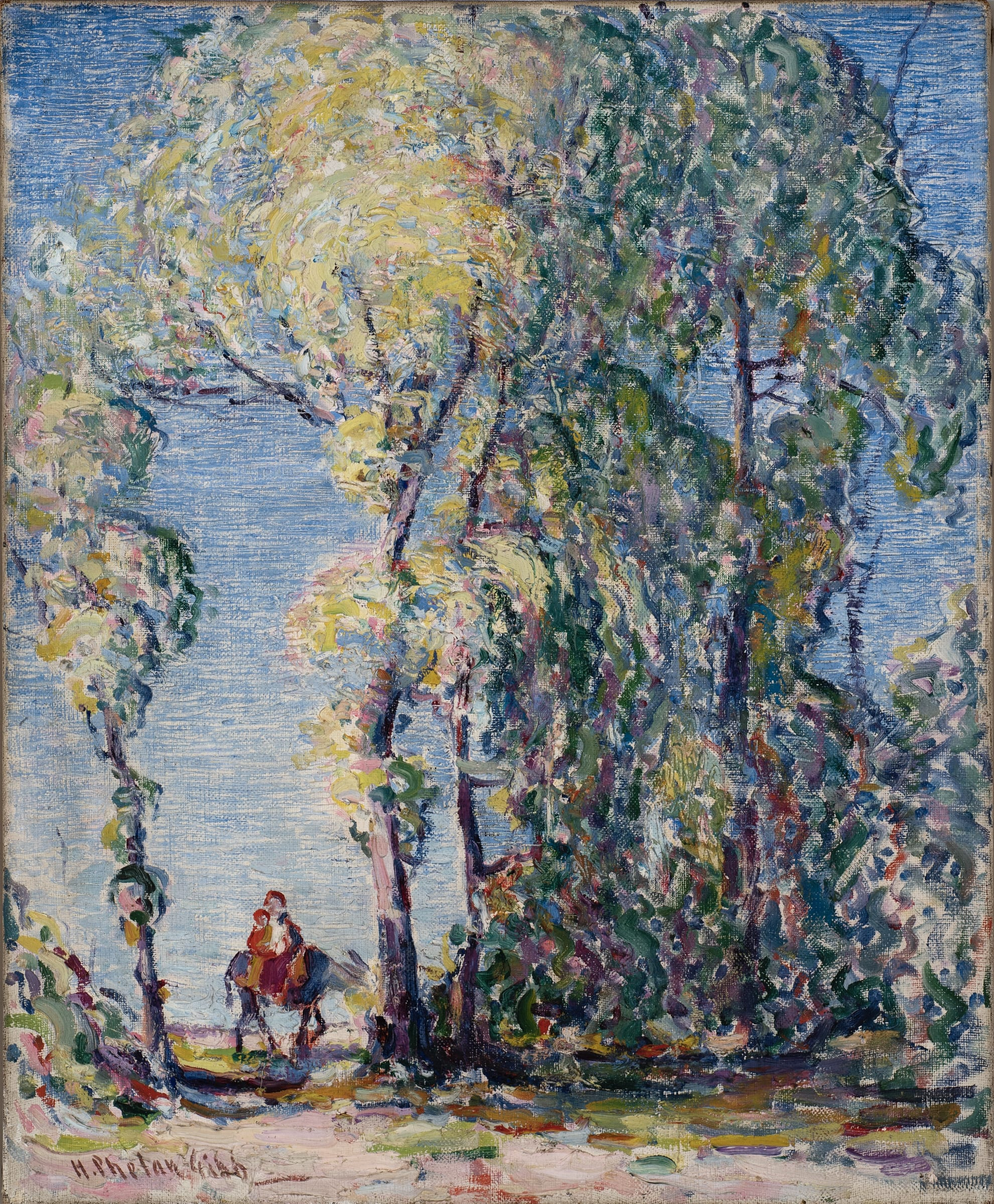 """<span class=""""link fancybox-details-link""""><a href=""""/exhibitions/27/works/artworks141/"""">View Detail Page</a></span><div class=""""artist""""><strong>Harry Phelan Gibb</strong></div> 1870 - 1948<div class=""""title""""><em>Spain</em>, c.1906-10</div><div class=""""signed_and_dated"""">Signed and titled on reverse</div><div class=""""medium"""">oil on canvas</div><div class=""""dimensions"""">61 x 50 cm</div>"""