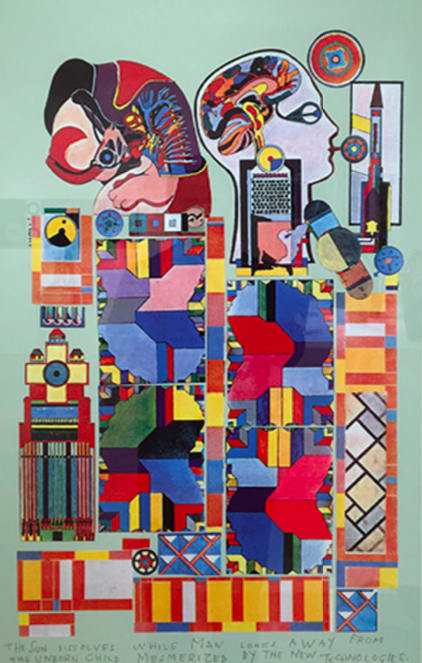 """<span class=""""link fancybox-details-link""""><a href=""""/artists/60-eduardo-paolozzi/works/465-eduardo-paolozzi-the-sun-dissolves-while-man-looks-away-from-1988/"""">View Detail Page</a></span><div class=""""artist""""><strong>Eduardo Paolozzi</strong></div> 1924-2005 <div class=""""title""""><em>The Sun Dissolves While Man Looks Away From The Unborn Child Mesmerized By The New Technologies</em>, 1988</div> <div class=""""signed_and_dated"""">Screenprint, stamped Paolozzi Foundation</div> <div class=""""dimensions"""">39 3/8 x 29 1/2 in<br /> 100 x 75 cm</div><div class=""""price"""">£2,400.00</div>"""