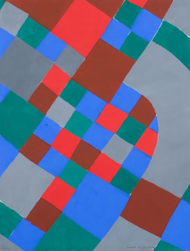 """<span class=""""link fancybox-details-link""""><a href=""""/artists/39-sonia-delaunay/works/117-sonia-delaunay-mallarme-poesie-de-mots-poesie-de-couleurs-1961/"""">View Detail Page</a></span><div class=""""artist""""><strong>Sonia Delaunay</strong></div> 1885 - 1979 <div class=""""title""""><em>Mallarmé - Poésie de mots, Poésie de couleurs</em>, 1961</div> <div class=""""signed_and_dated"""">Signed in pencil and dated lower right.</div> <div class=""""medium"""">Pochoir or stencil print (screen print) with hand brushed gouache colours.</div> <div class=""""dimensions"""">25 5/8 x 19 3/4 in<br />65 x 50 cm</div> <div class=""""edition_details"""">Edition of 80 plus 6 AP, this work is numbered 5/6</div>"""