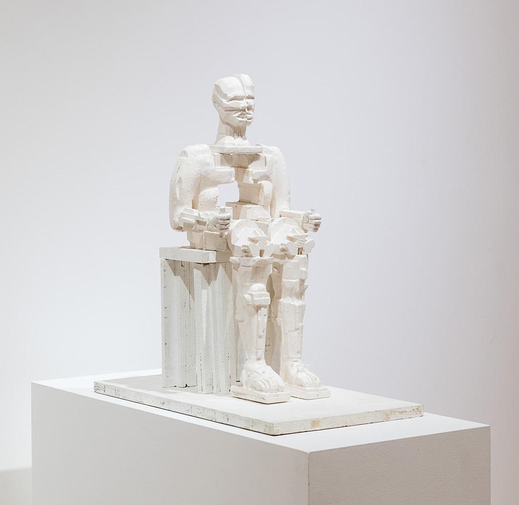 """<span class=""""link fancybox-details-link""""><a href=""""/exhibitions/11/works/artworks459/"""">View Detail Page</a></span><div class=""""artist""""><strong>Eduardo Paolozzi</strong></div> 1924-2005<div class=""""title""""><em>Faraday</em>, 2000</div><div class=""""medium"""">Unique plaster maquette</div><div class=""""dimensions"""">54 x 26 x 27cm</div>"""