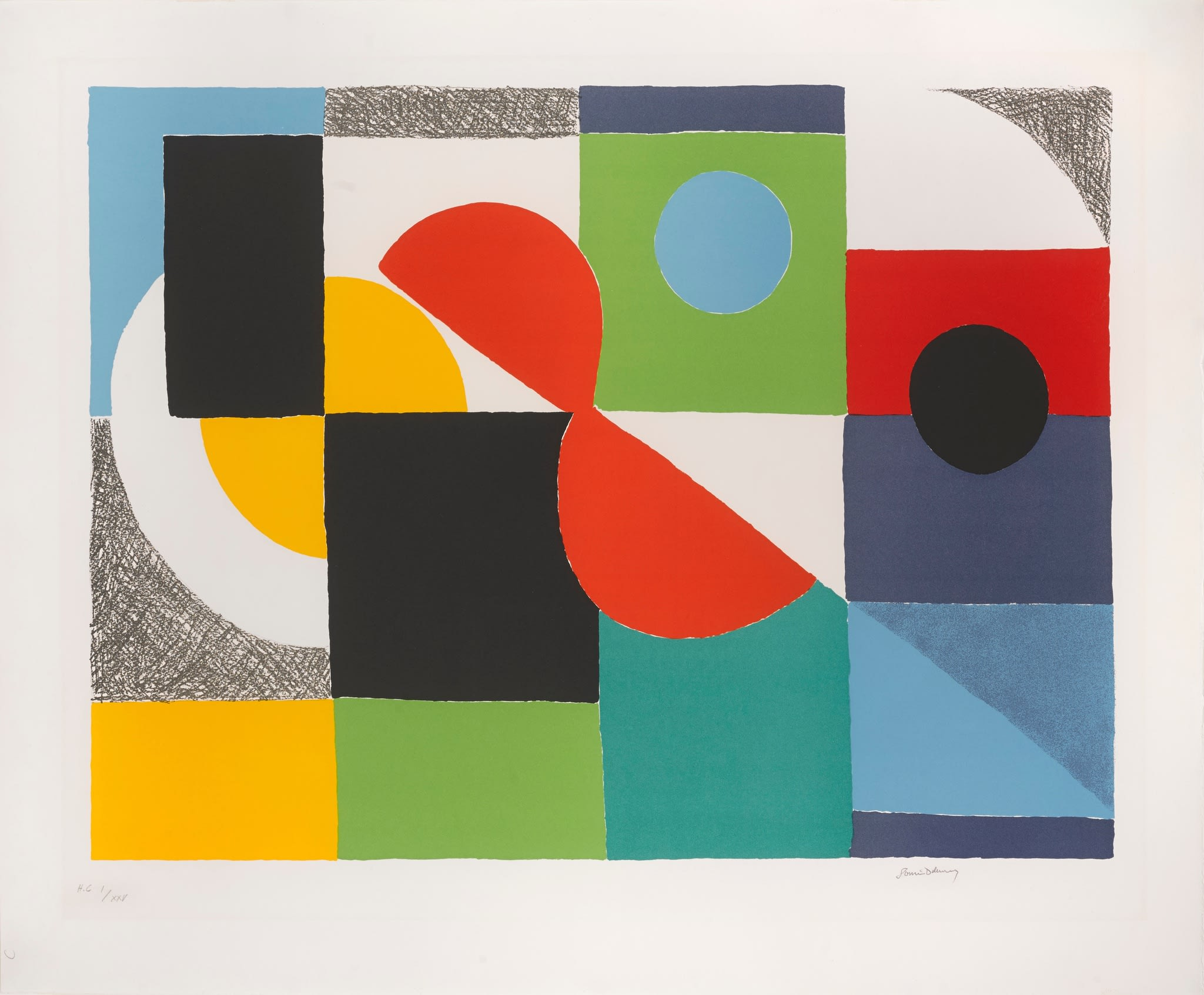 """<span class=""""link fancybox-details-link""""><a href=""""/artists/39-sonia-delaunay/works/145-sonia-delaunay-grand-helice-rouge-1970/"""">View Detail Page</a></span><div class=""""artist""""><strong>Sonia Delaunay</strong></div> 1885 - 1979 <div class=""""title""""><em>Grand Helice Rouge</em>, 1970</div> <div class=""""signed_and_dated"""">signed in pencil lower right,</div> <div class=""""medium"""">Lithograph</div> <div class=""""dimensions"""">29 3/4 x 35 3/4 in<br />75.6 x 90.8 cm</div> <div class=""""edition_details"""">H.C I/XXV, Edition size</div>"""
