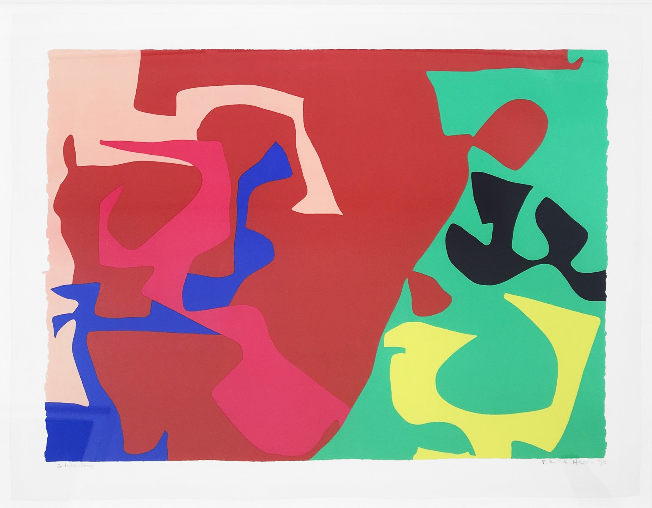 """<span class=""""link fancybox-details-link""""><a href=""""/artists/74-patrick-heron/works/1011-patrick-heron-january-1973-plate-7-1973/"""">View Detail Page</a></span><div class=""""artist""""><strong>Patrick Heron</strong></div> 1920 - 1999 <div class=""""title""""><em>January 1973: Plate 7</em>, 1973</div> <div class=""""signed_and_dated"""">signed and dated in pencil, verso is the publishers stamp<br /> from the edition of 72</div> <div class=""""medium"""">screenprint</div> <div class=""""dimensions"""">58.6 x 81.4cm</div>"""