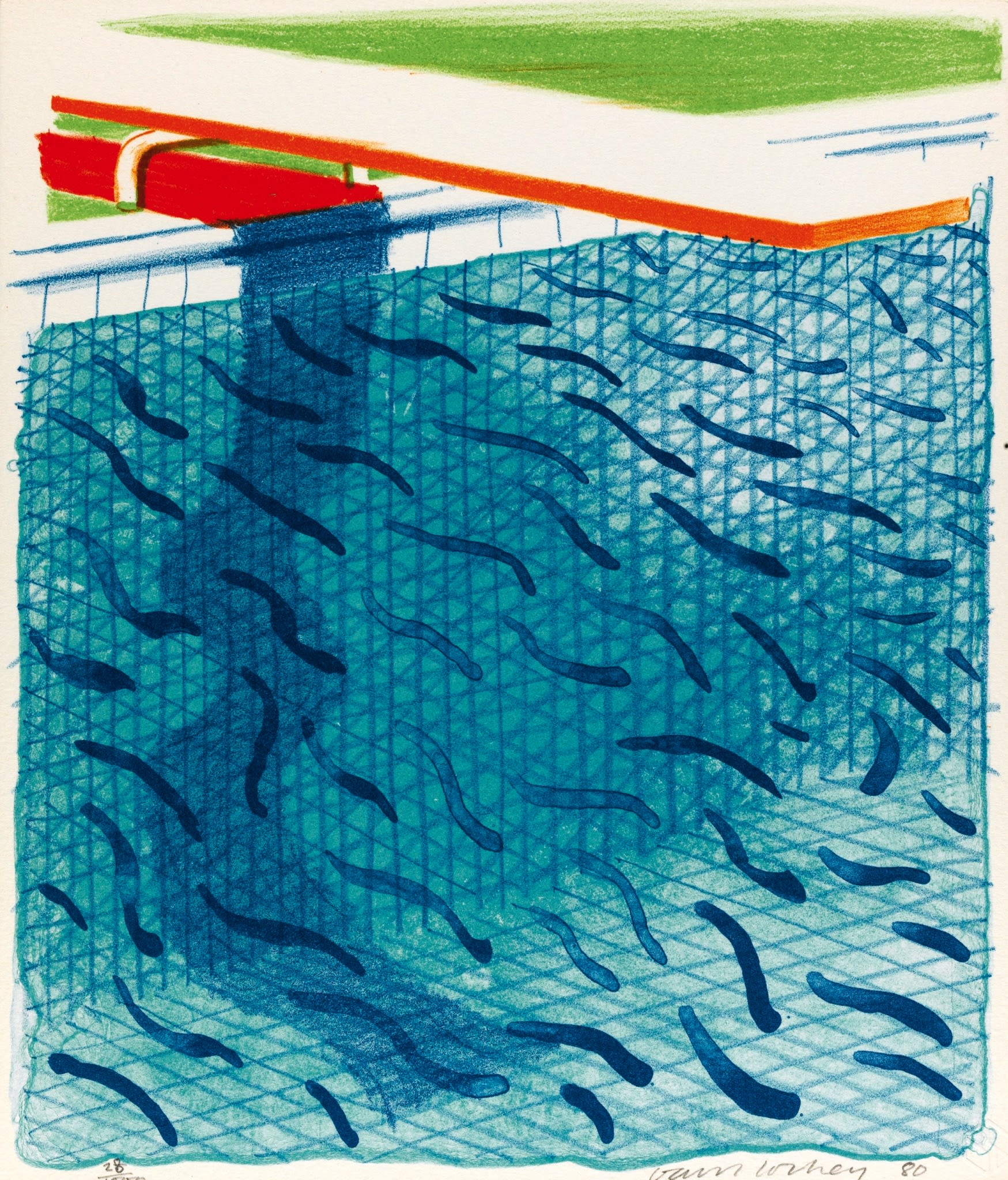 """<span class=""""link fancybox-details-link""""><a href=""""/artists/43-david-hockney/works/147-david-hockney-pool-made-with-paper-and-blue-ink-for-1980/"""">View Detail Page</a></span><div class=""""artist""""><strong>David Hockney</strong></div> 1937 <div class=""""title""""><em>Pool made with paper and blue ink for book</em>, 1980</div> <div class=""""signed_and_dated"""">Signed in pencil lower right and dated</div> <div class=""""medium"""">Lithograph printed in colours</div> <div class=""""dimensions"""">10 1/2 x 9 1/8 in<br />26.7 x 23 cm</div> <div class=""""edition_details"""">from an edition of 1000</div>"""