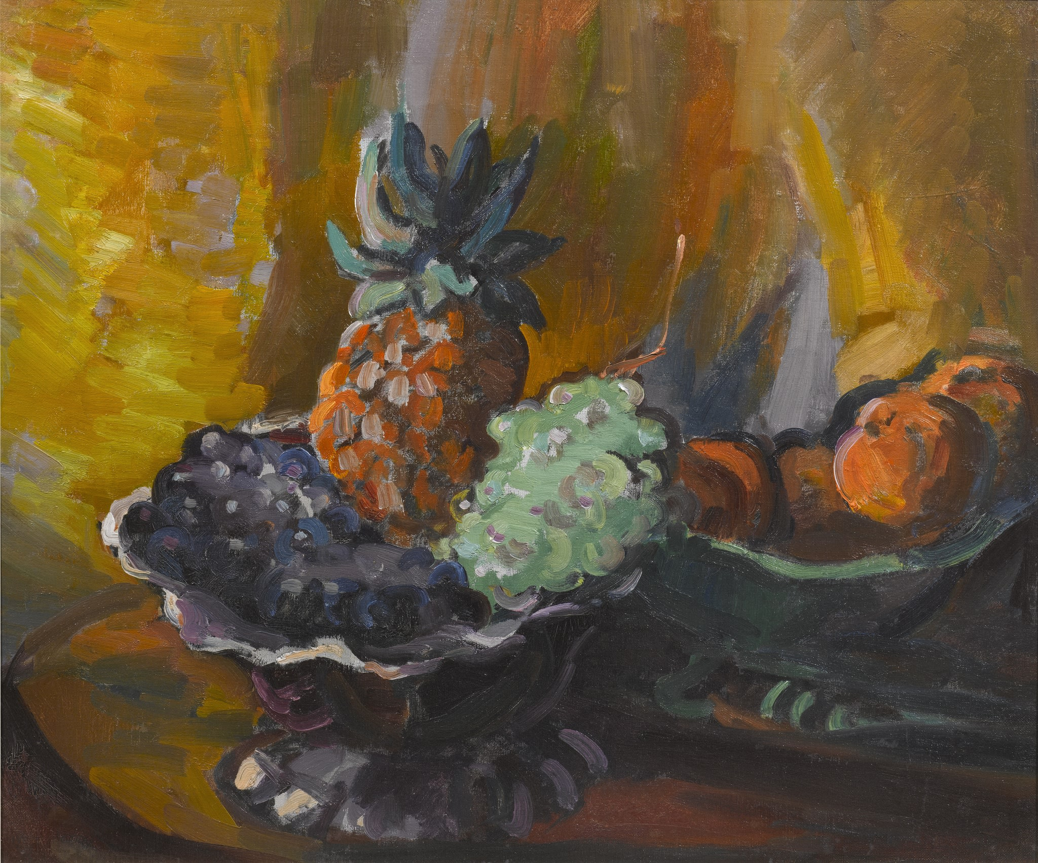 """<span class=""""link fancybox-details-link""""><a href=""""/artists/27-harry-phelan-gibb/works/11-harry-phelan-gibb-still-life-with-pineapple-c.1930/"""">View Detail Page</a></span><div class=""""artist""""><strong>Harry Phelan Gibb</strong></div> 1870 - 1948 <div class=""""title""""><em>Still Life with Pineapple</em>, c.1930</div> <div class=""""medium"""">Oil on Canvas</div> <div class=""""dimensions"""">11 1/2 x 18 3/4 in<br />29.2 x 47.6 cm</div>"""