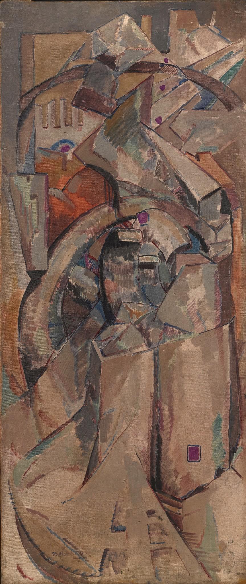 "<span class=""link fancybox-details-link""><a href=""/artists/27-harry-phelan-gibb/works/205-harry-phelan-gibb-untitled-cubist-composition-c.1908/"">View Detail Page</a></span><div class=""artist""><strong>Harry Phelan Gibb</strong></div> 1870 - 1948 <div class=""title""><em>Untitled (cubist composition)</em>, c.1908</div> <div class=""signed_and_dated"">signed lower left</div> <div class=""medium"">oil on canvas</div> <div class=""dimensions"">41 3/4 x 17 3/4 in<br />106 x 45.2 cm</div>"