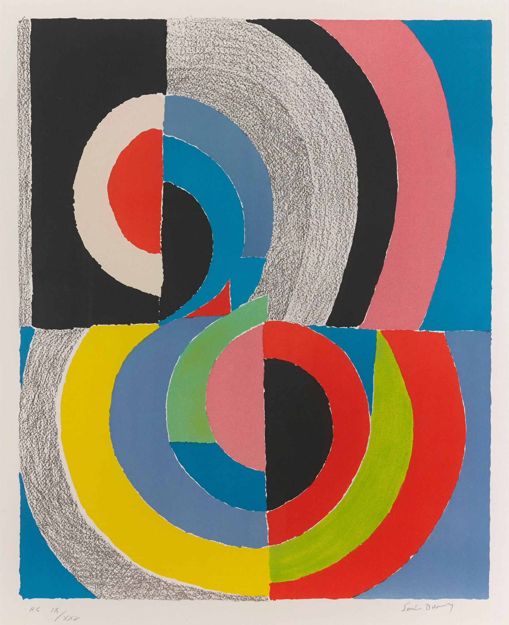 """<span class=""""link fancybox-details-link""""><a href=""""/artists/39-sonia-delaunay/works/146-sonia-delaunay-plougastel-1970/"""">View Detail Page</a></span><div class=""""artist""""><strong>Sonia Delaunay</strong></div> 1885 - 1979 <div class=""""title""""><em>Plougastel</em>, 1970</div> <div class=""""signed_and_dated"""">signed in pencil, numbered H.C IX/XXV, a hors commerce impression, aside from the edition of 75, published by Galerie de Varenne, Paris, with wide margins, in very good condition.</div> <div class=""""medium"""">Lithograph in colours</div> <div class=""""dimensions"""">Sheet:<br />29 7/8 x 22 1/8 in<br />76 x 56 cm</div>"""