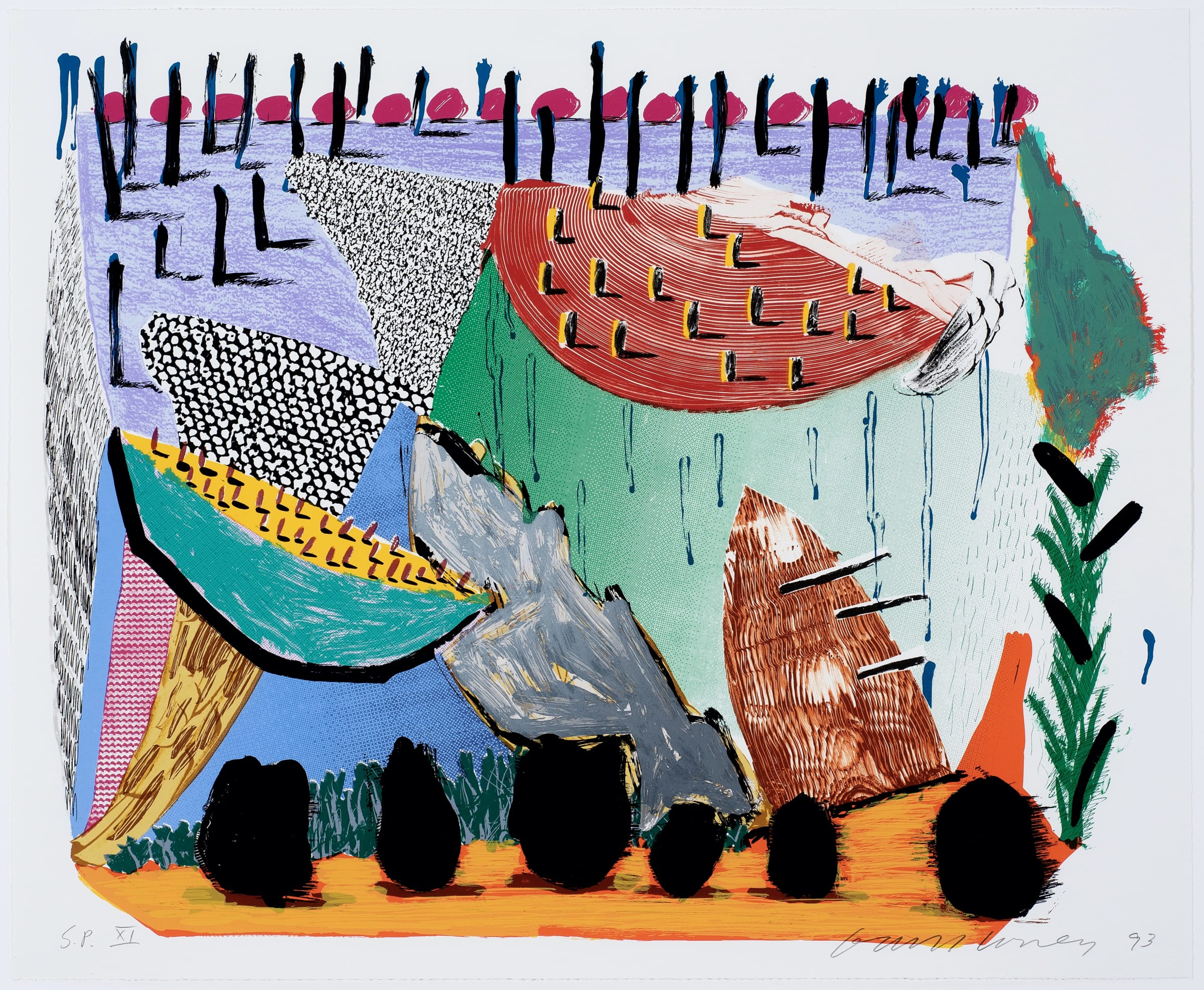 """<span class=""""link fancybox-details-link""""><a href=""""/artists/43-david-hockney/works/1228-david-hockney-slow-rise-1993/"""">View Detail Page</a></span><div class=""""artist""""><strong>David Hockney</strong></div> b.1937 <div class=""""title""""><em>Slow Rise</em>, 1993</div> <div class=""""medium"""">lithograph and screenprint</div> <div class=""""dimensions"""">25 x 30 3/4 in<br /> 63.5 x 78.1 cm</div> <div class=""""edition_details"""">SP XI / XXX aside from the edition of 68, from Some New Prints, on Arches 88 wove paper, with the blindstamp of the publisher, Gemini G.E.L., Los Angeles, and with their inkstamp on the verso, framed</div>"""