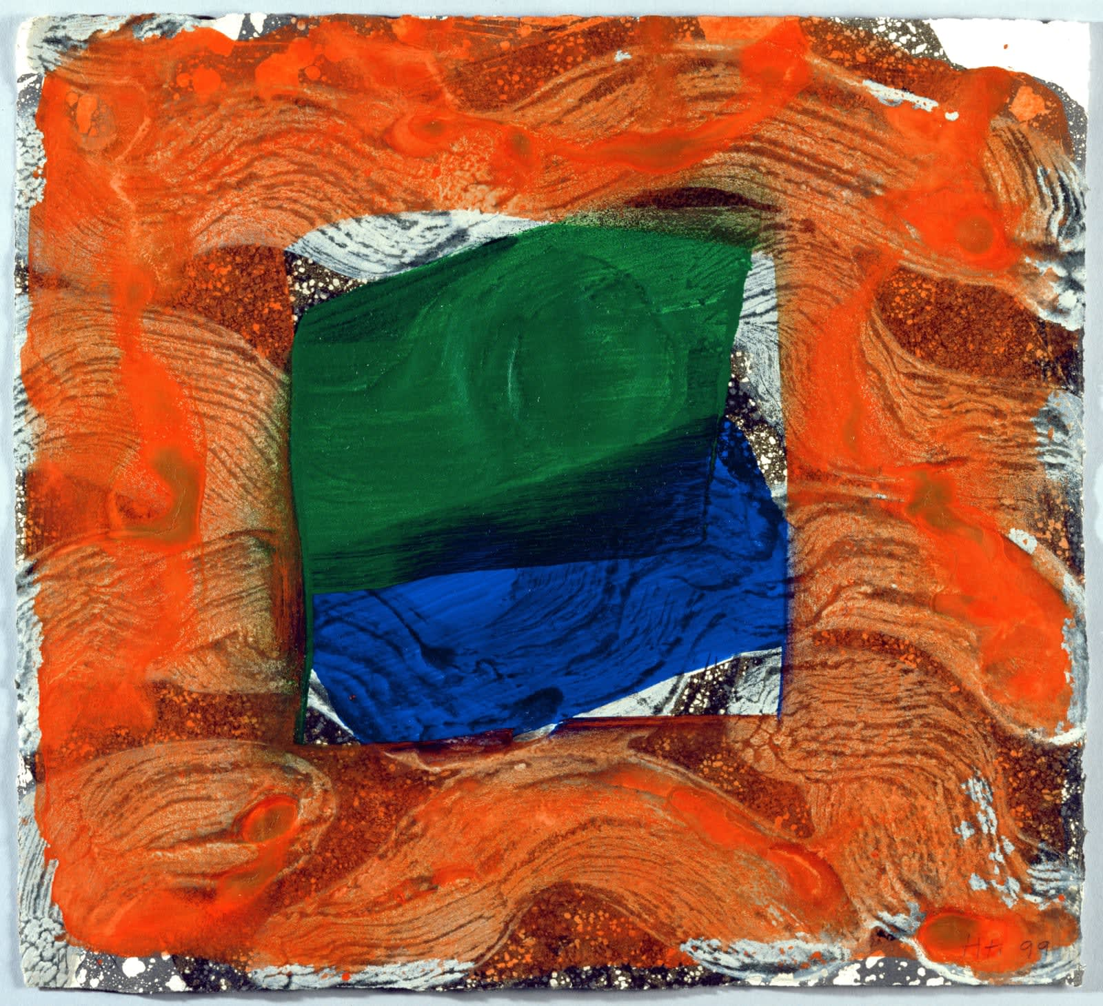 """<span class=""""link fancybox-details-link""""><a href=""""/artists/76-howard-hodgkin/works/1021-howard-hodgkin-books-for-the-paris-review-1997/"""">View Detail Page</a></span><div class=""""artist""""><strong>Howard Hodgkin</strong></div> 1932 - 2017 <div class=""""title""""><em>Books for the Paris Review</em>, 1997</div> <div class=""""signed_and_dated"""">signed with initials and dated<br /> AP X/X artists proof aside from the edition of 100</div> <div class=""""medium"""">etching with aquatint & carborundum<br /> </div> <div class=""""dimensions"""">38 x 42cm</div> <div class=""""edition_details"""">AP X/X artists proof aside from the edition of 100</div>"""