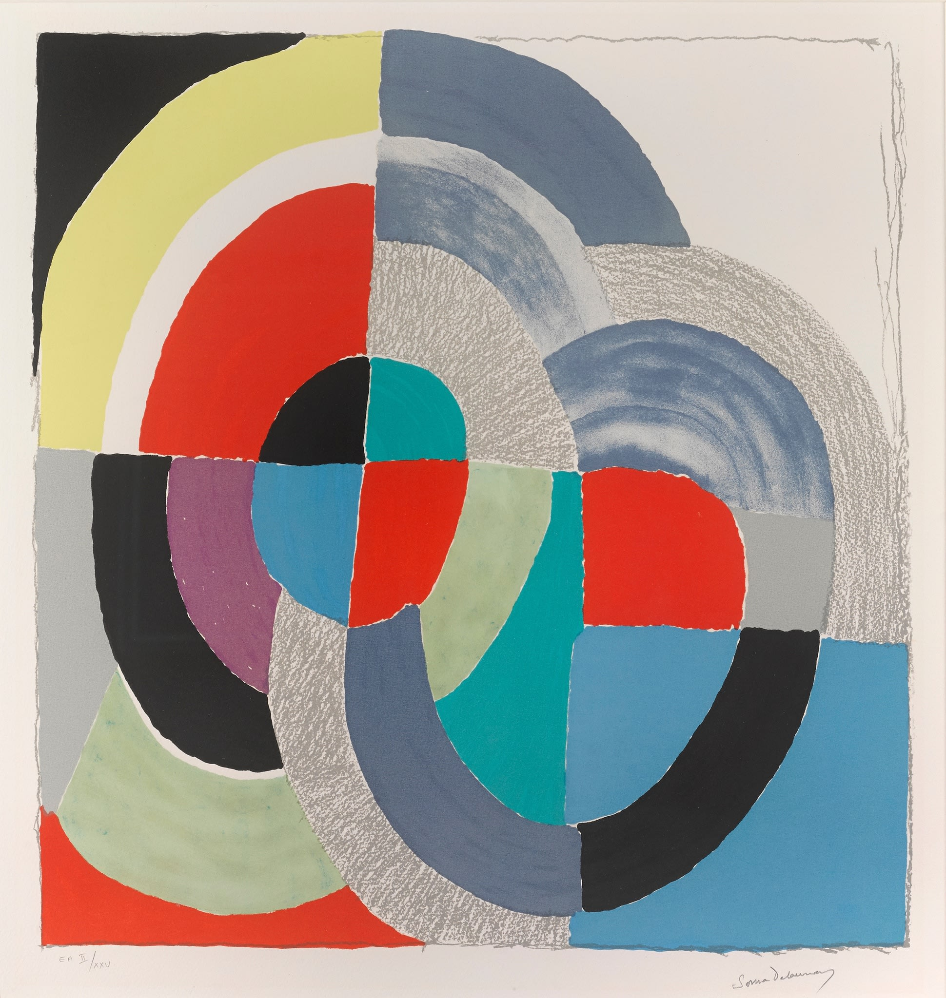 """<span class=""""link fancybox-details-link""""><a href=""""/artists/39-sonia-delaunay/works/189-sonia-delaunay-russian-easter-1970/"""">View Detail Page</a></span><div class=""""artist""""><strong>Sonia Delaunay</strong></div> 1885 - 1979 <div class=""""title""""><em>Russian Easter</em>, 1970</div> <div class=""""signed_and_dated"""">Signed in pencil lower right</div> <div class=""""medium"""">Coloured lithograph</div> <div class=""""dimensions"""">24 3/4 x 31 1/8 in<br /> 63 x 79 cm</div> <div class=""""edition_details"""">E.A II/XXV (epreuve d'artist/artist's proof)</div>"""