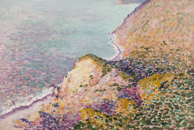 """<span class=""""link fancybox-details-link""""><a href=""""/artists/27-harry-phelan-gibb/works/270-harry-phelan-gibb-coastal-landscape-c.1908/"""">View Detail Page</a></span><div class=""""artist""""><strong>Harry Phelan Gibb</strong></div> 1870 - 1948 <div class=""""title""""><em>Coastal Landscape</em>, c.1908 </div> <div class=""""signed_and_dated"""">signed lower left</div> <div class=""""medium"""">oil on canvas</div> <div class=""""dimensions"""">20 x 30 in<br /> 50.8 x 76.2 cm</div>"""