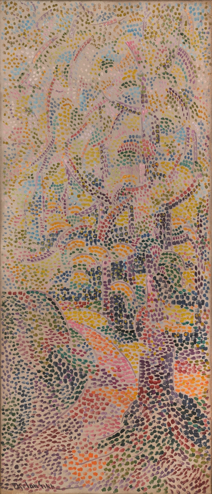"""<span class=""""link fancybox-details-link""""><a href=""""/artists/27-harry-phelan-gibb/works/206-harry-phelan-gibb-untitled-pointillist-composition-c.1908/"""">View Detail Page</a></span><div class=""""artist""""><strong>Harry Phelan Gibb</strong></div> 1870 - 1948 <div class=""""title""""><em>Untitled (pointillist composition)</em>, c.1908</div> <div class=""""signed_and_dated"""">signed lower left</div> <div class=""""medium"""">oil on canvas</div> <div class=""""dimensions"""">41 3/4 x 17 3/4 in<br />106 x 45.2 cm</div>"""
