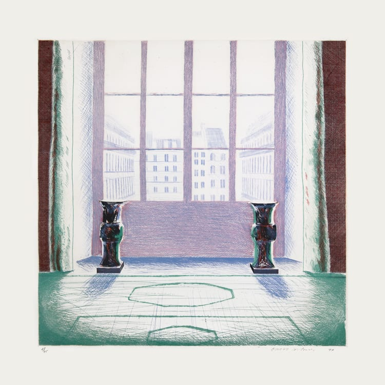 """<span class=""""link fancybox-details-link""""><a href=""""/artists/43-david-hockney/works/496-david-hockney-two-vases-in-the-louvre-1974/"""">View Detail Page</a></span><div class=""""artist""""><strong>David Hockney</strong></div> 1937 <div class=""""title""""><em>Two Vases in the Louvre</em>, 1974</div> <div class=""""signed_and_dated"""">Signed in pencil, from the edition of 75</div> <div class=""""medium"""">Etching and aquatint printed in colours</div> <div class=""""dimensions"""">99.5 x 92cm </div>"""