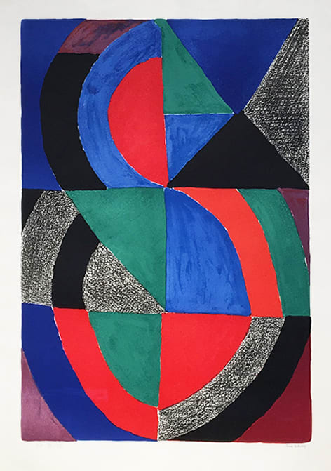 """<span class=""""link fancybox-details-link""""><a href=""""/artists/39-sonia-delaunay/works/431-sonia-delaunay-grande-icone-c.1970/"""">View Detail Page</a></span><div class=""""artist""""><strong>Sonia Delaunay</strong></div> 1885 - 1979 <div class=""""title""""><em>Grande Icône</em>, c.1970</div> <div class=""""signed_and_dated"""">signed in pencil and inscribed EA</div> <div class=""""medium"""">lithograph on arches paper</div> <div class=""""dimensions"""">35 3/8 x 24 3/4 in<br /> 90 x 63 cm</div> <div class=""""edition_details"""">EA XV/XXV aside from an edition of 150</div>"""