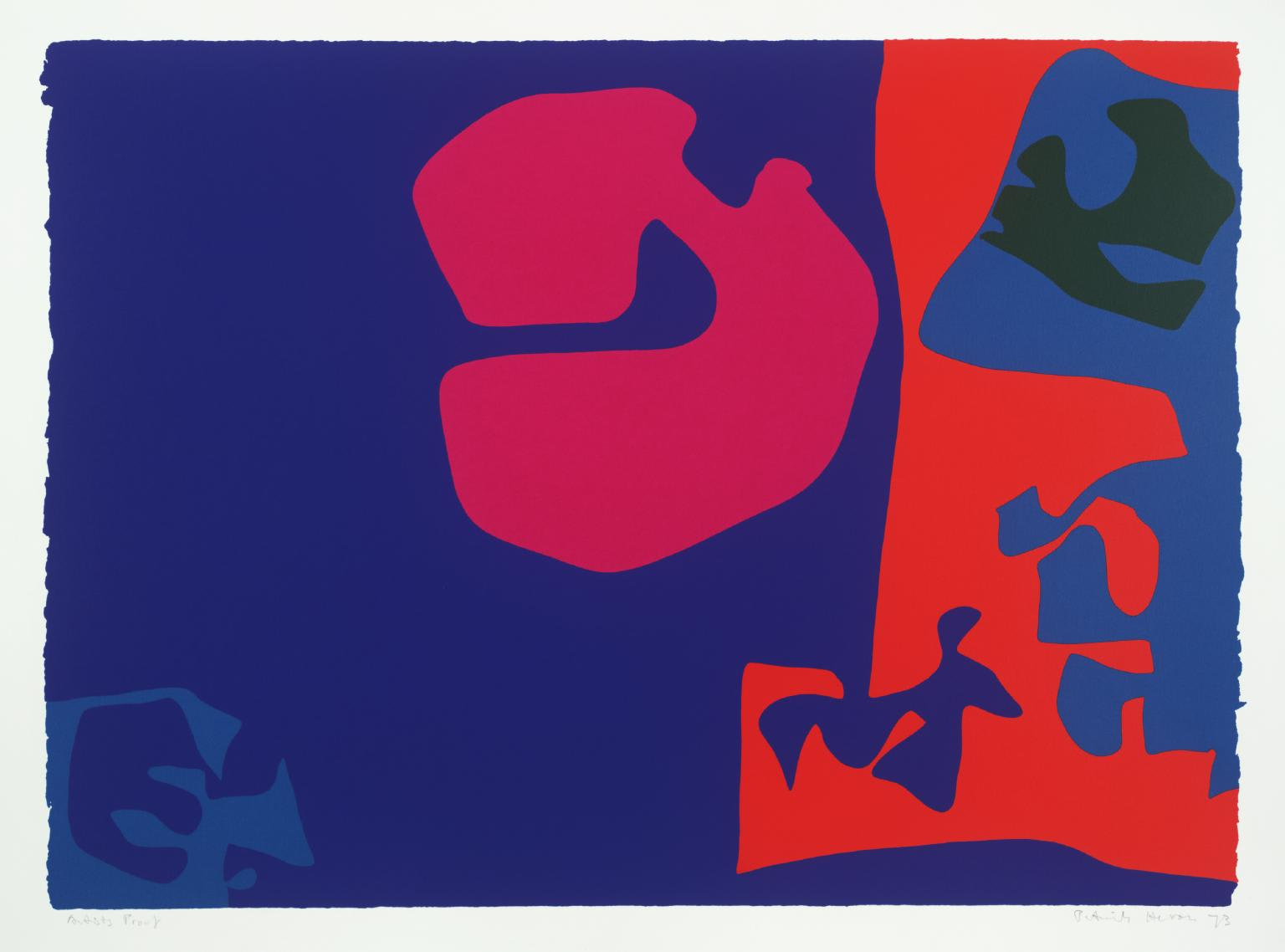 """<span class=""""link fancybox-details-link""""><a href=""""/artists/74-patrick-heron/works/1009-patrick-heron-january-1973-plate-17-1973/"""">View Detail Page</a></span><div class=""""artist""""><strong>Patrick Heron</strong></div> 1920 - 1999 <div class=""""title""""><em>January 1973: Plate 17</em>, 1973</div> <div class=""""signed_and_dated"""">signed and dated in pencil, verso is the publishers stamp<br /> from the edition of 72</div> <div class=""""medium"""">screenprint</div> <div class=""""dimensions"""">68 x 92.3cm</div>"""