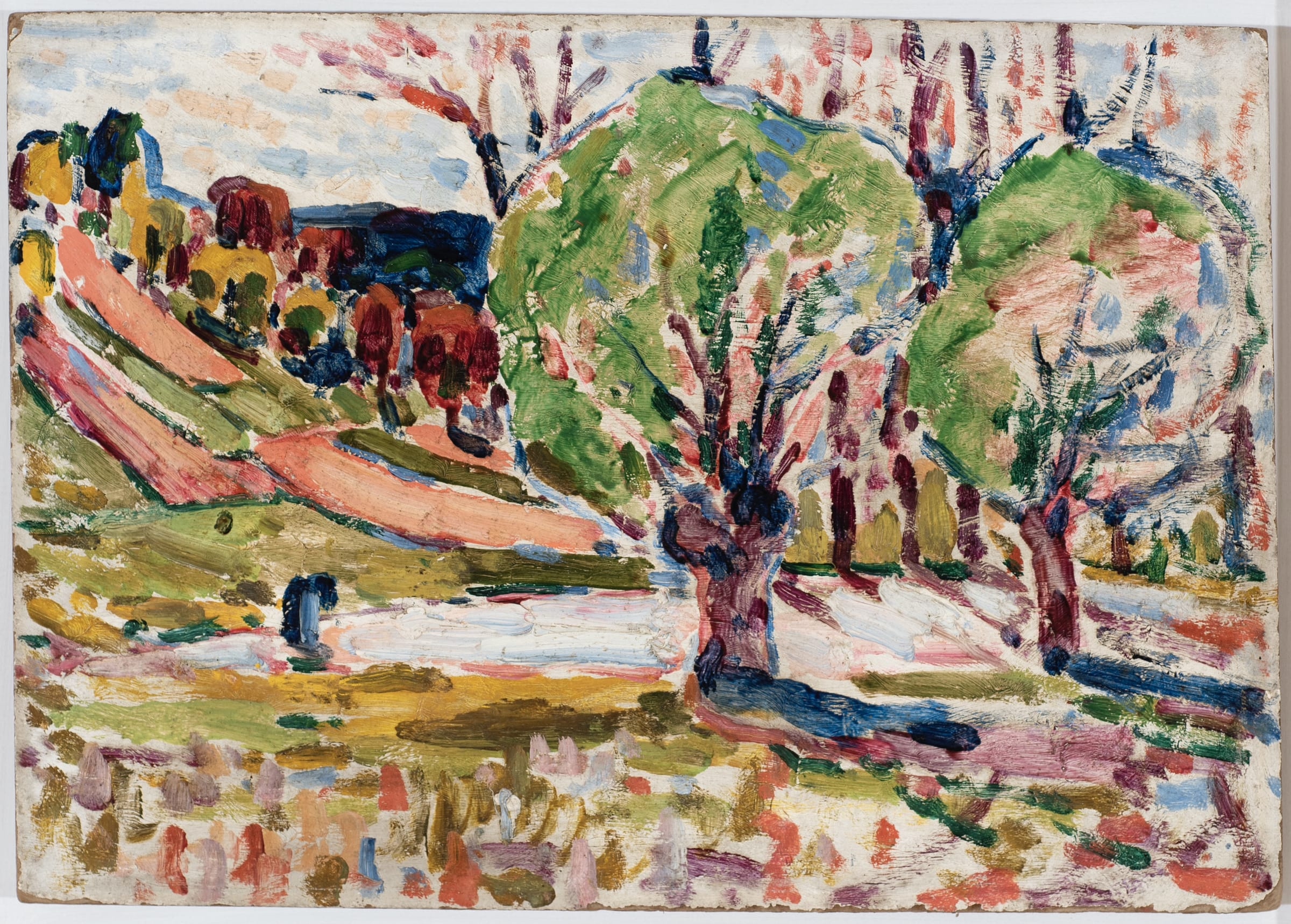 """<span class=""""link fancybox-details-link""""><a href=""""/artists/27-harry-phelan-gibb/works/1386-harry-phelan-gibb-landscape-with-trees-1906/"""">View Detail Page</a></span><div class=""""artist""""><strong>Harry Phelan Gibb</strong></div> 1870 - 1948 <div class=""""title""""><em>Landscape with Trees</em>, 1906</div> <div class=""""signed_and_dated"""">inscribed and dated verso</div> <div class=""""medium"""">oil on board</div> <div class=""""dimensions"""">25 x 35.5cm</div>"""