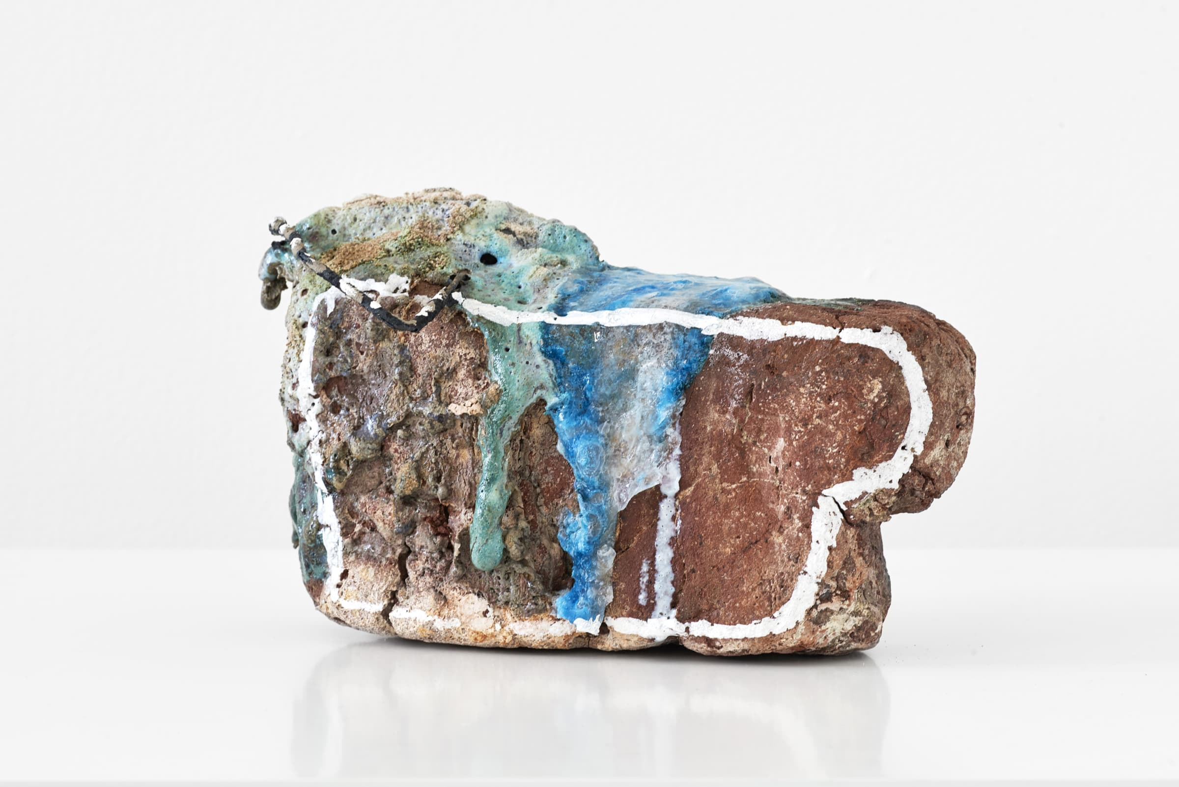 <span class=&#34;link fancybox-details-link&#34;><a href=&#34;/exhibitions/169/works/artworks10717/&#34;>View Detail Page</a></span><div class=&#34;medium&#34;>Refired found local brick, copper glaze with glass, sand, found metal, liquid chalk</div> <div class=&#34;dimensions&#34;>15 x 25.5 x 14 cm<br /> 5 7/8 x 10 1/8 x 5 1/2 in</div>