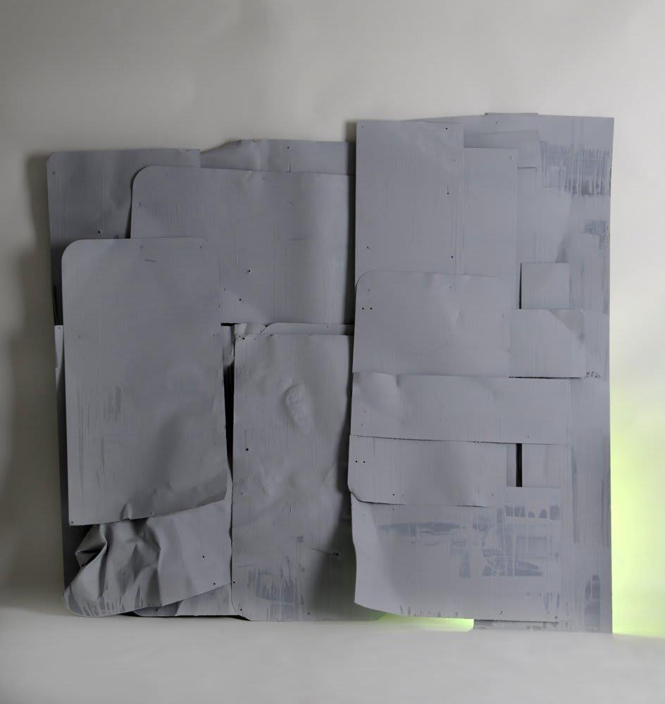 <span class=&#34;link fancybox-details-link&#34;><a href=&#34;/artists/16-paul-merrick/works/3800/&#34;>View Detail Page</a></span><div class=&#34;artist&#34;><strong>Paul Merrick</strong></div> <div class=&#34;title&#34;><em>Untitled (Construction) Green</em>, 2009</div> <div class=&#34;medium&#34;>Aluminium, Stainless Steel, Metal primer, Spray Paint, Florescent Strip Lighting</div> <div class=&#34;dimensions&#34;>190 x 160 cm<br />74 3/4 x 63 in</div><div class=&#34;copyright_line&#34;>Copyright The Artist</div>